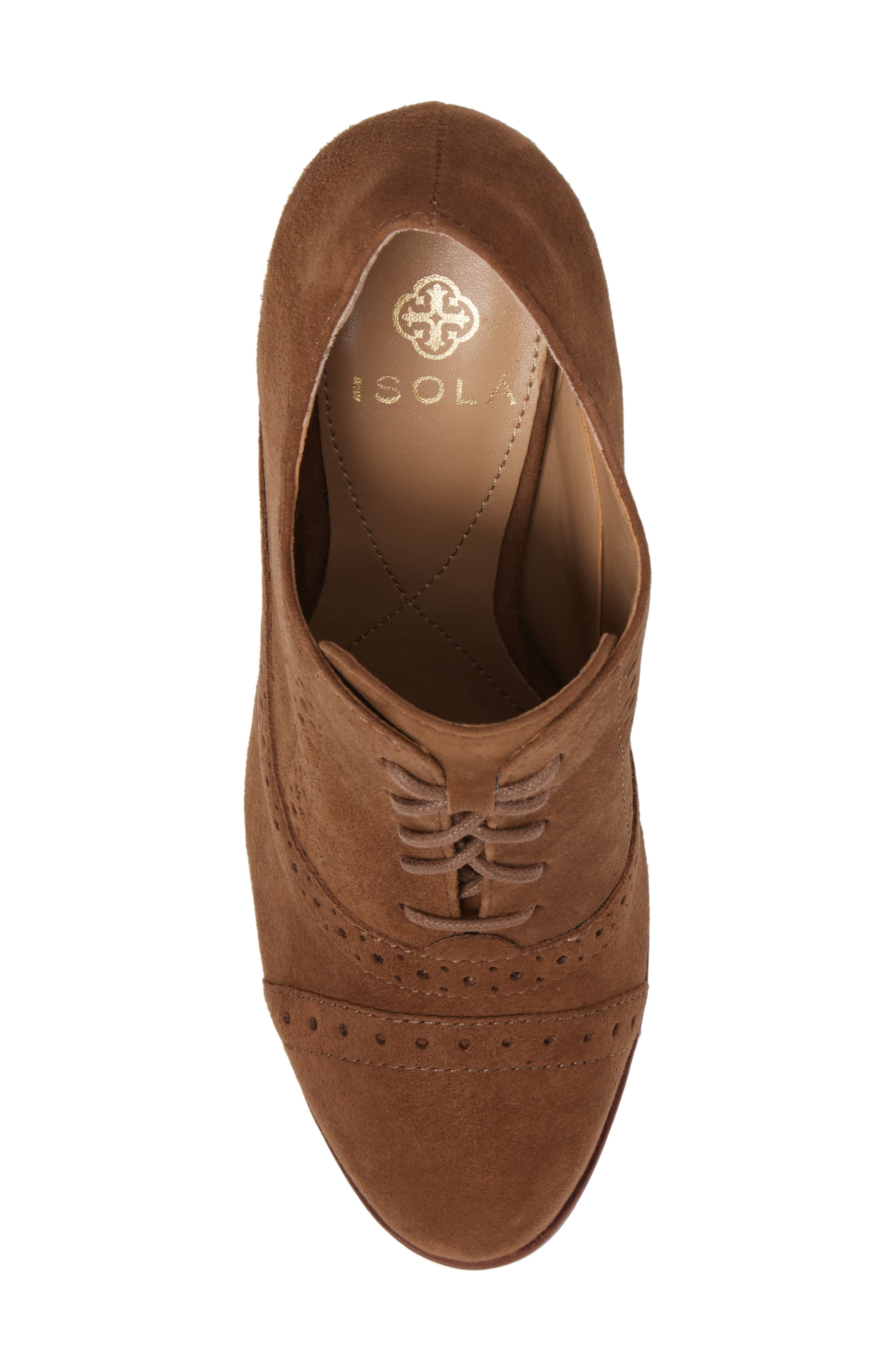 ISOLÁ, Holli Oxford Pump, Alternate thumbnail 5, color, LIGHT BROWN SUEDE