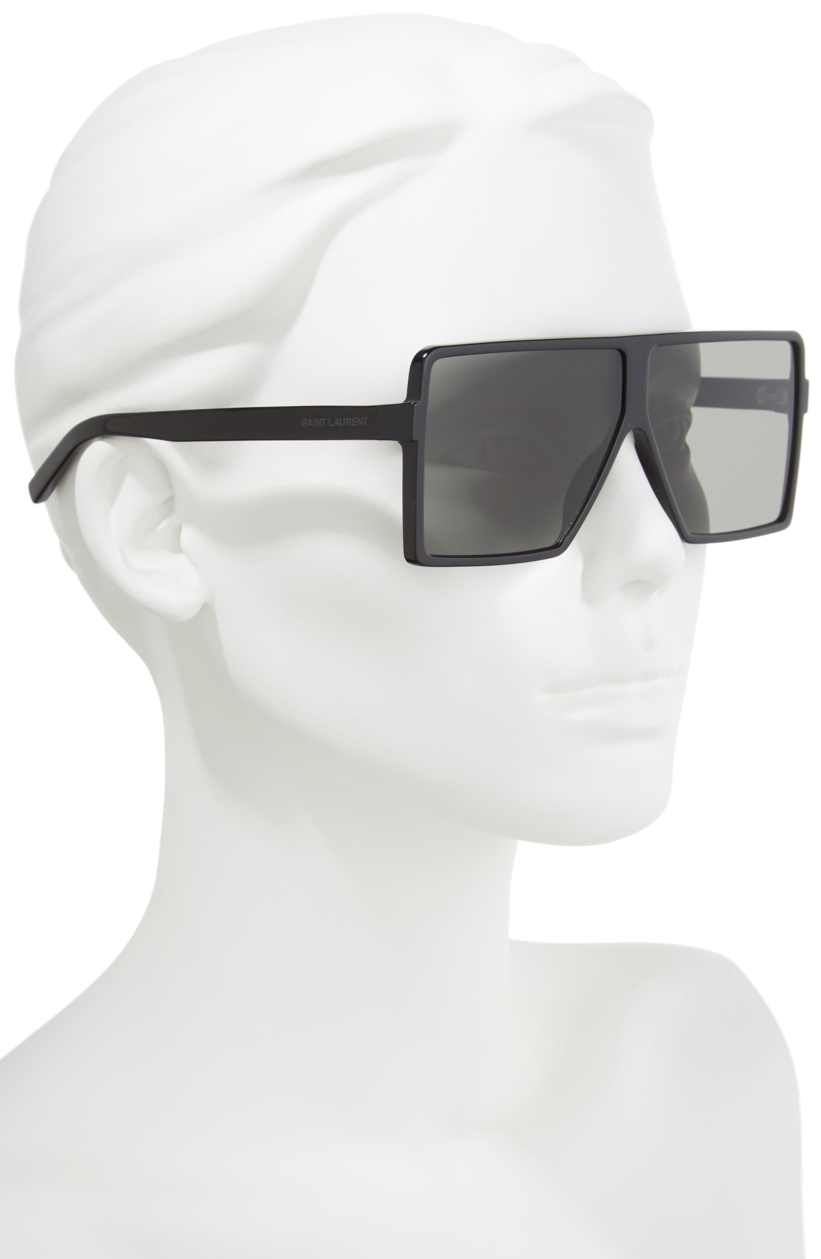 SAINT LAURENT, Betty 63mm Oversize Shield Sunglasses, Alternate thumbnail 2, color, BLACK