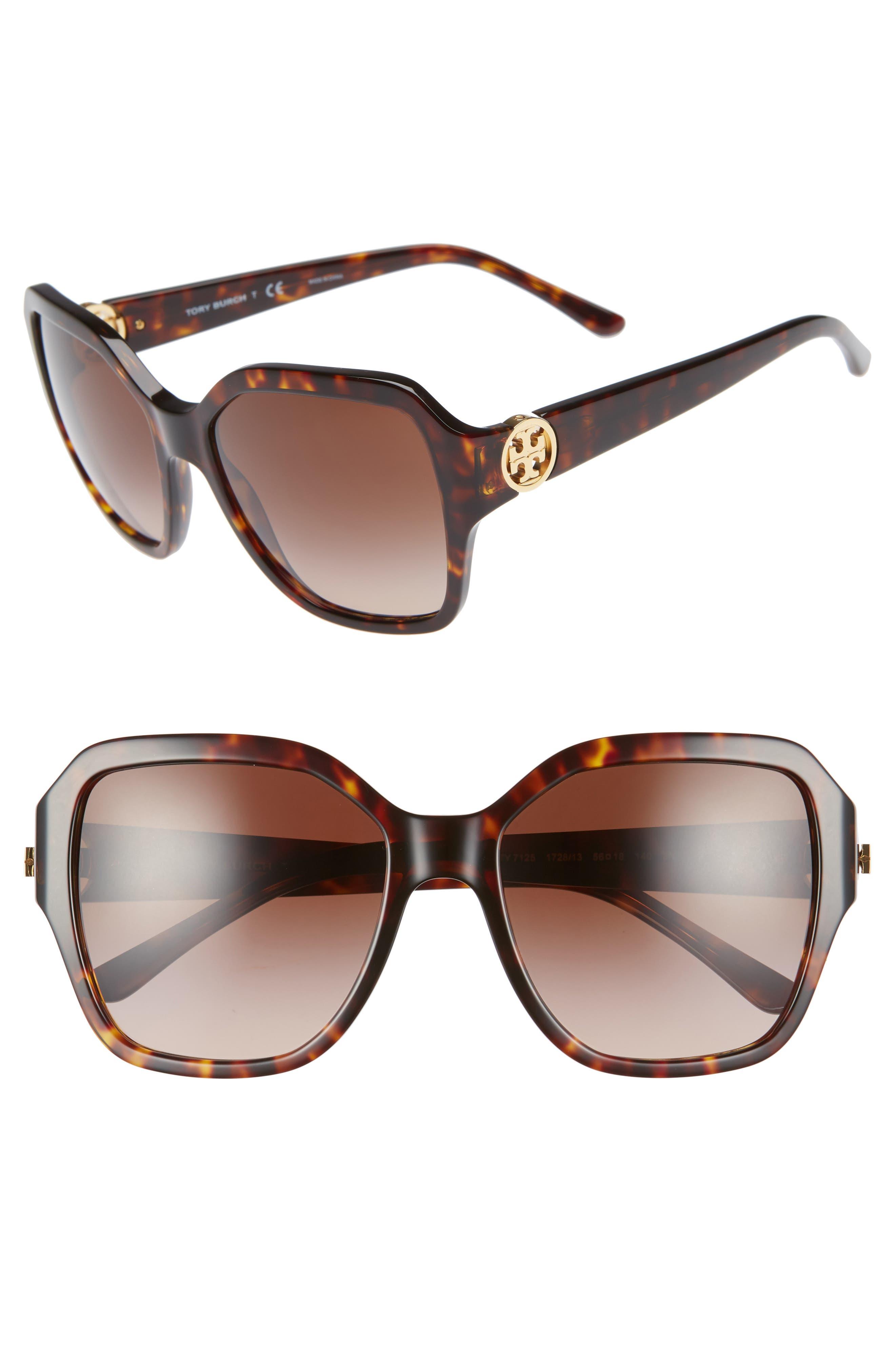 TORY BURCH Reva 56mm Square Sunglasses, Main, color, DARK TORTOISE GRADIENT