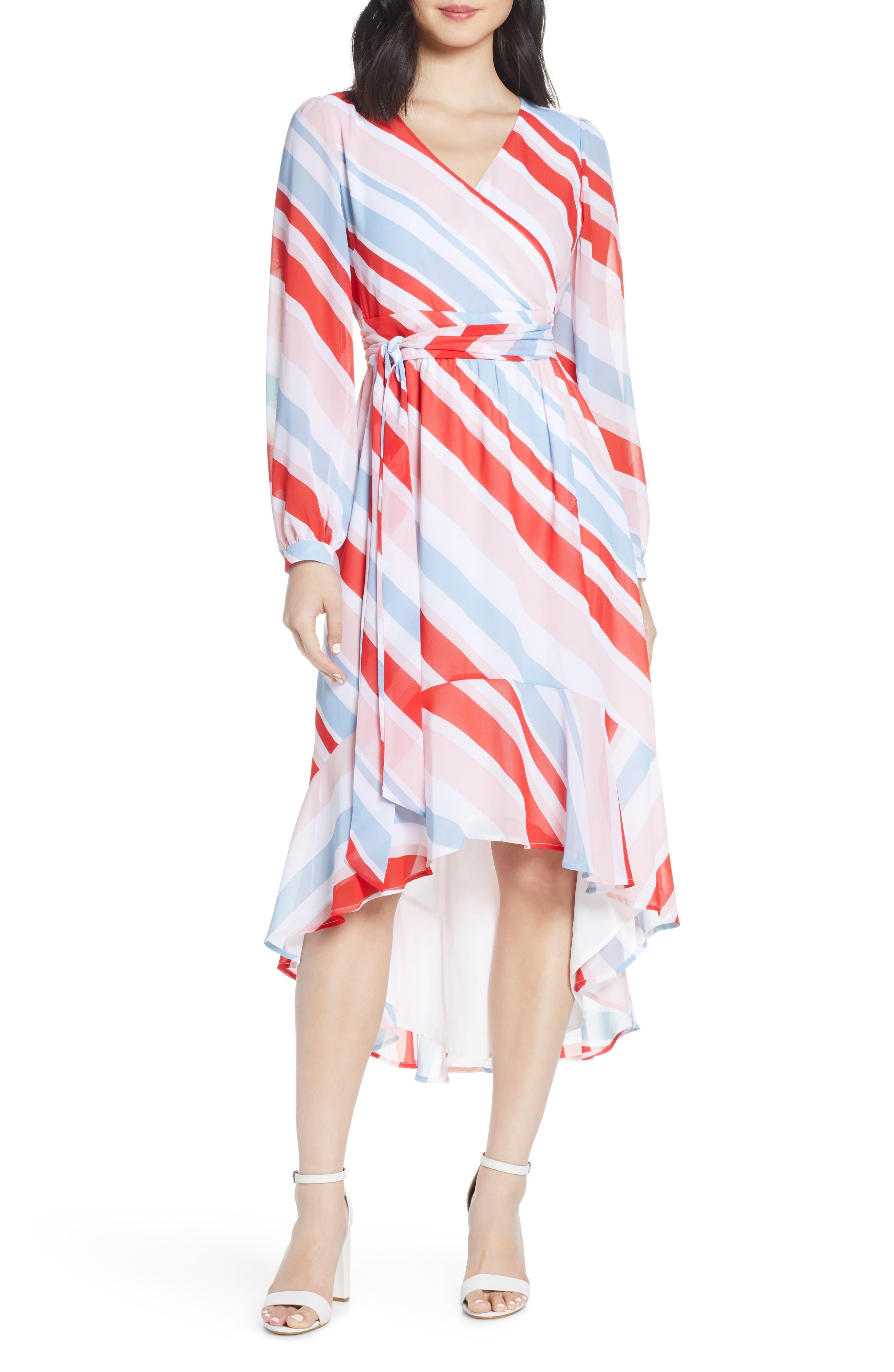 Chelsea28 Stripe Long Sleeve High/low Faux Wrap Dress, Red