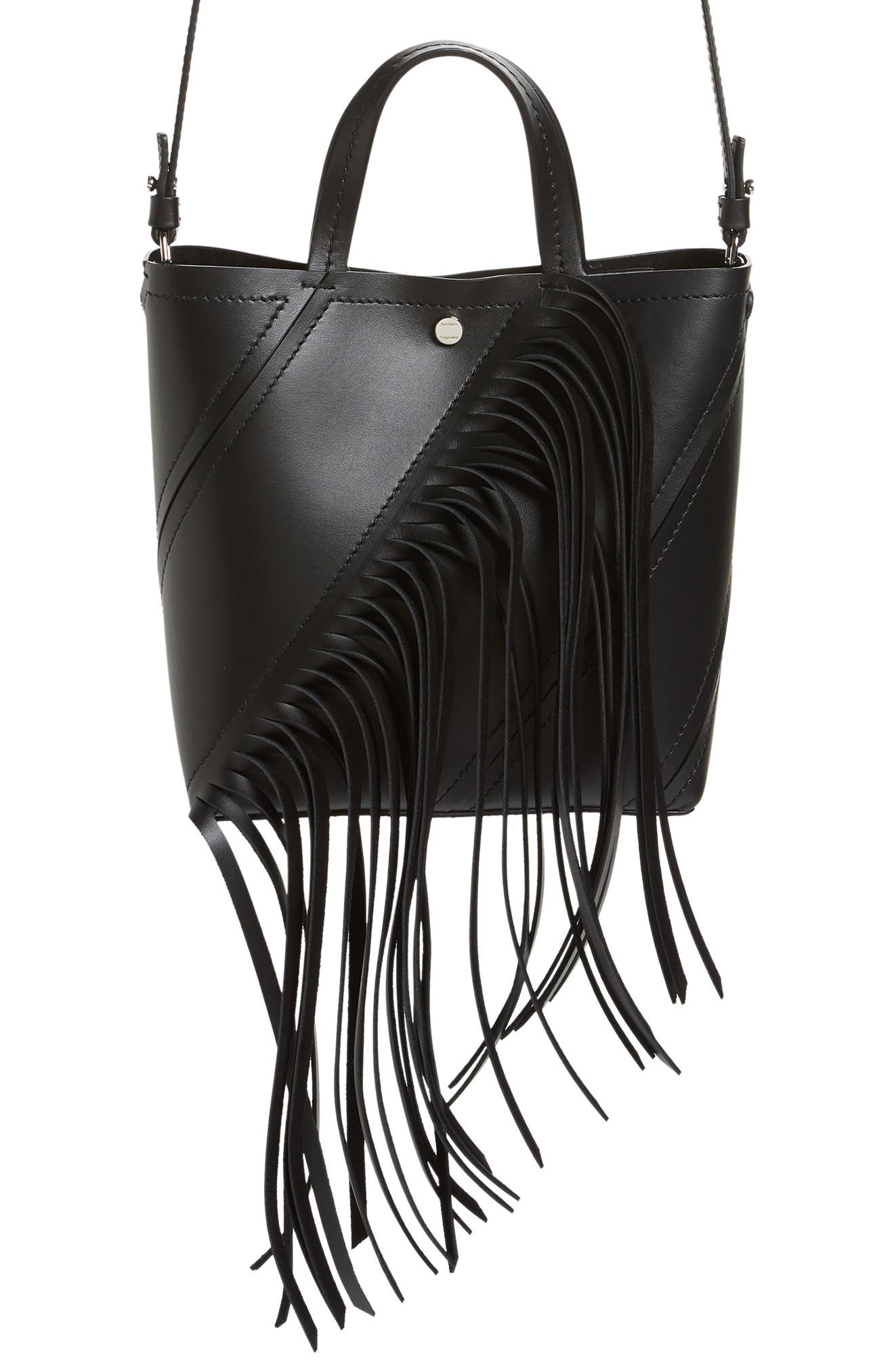 PROENZA SCHOULER Proenza Schoulder Small Hex Calfskin Leather Tote, Main, color, BLACK/ BLACK