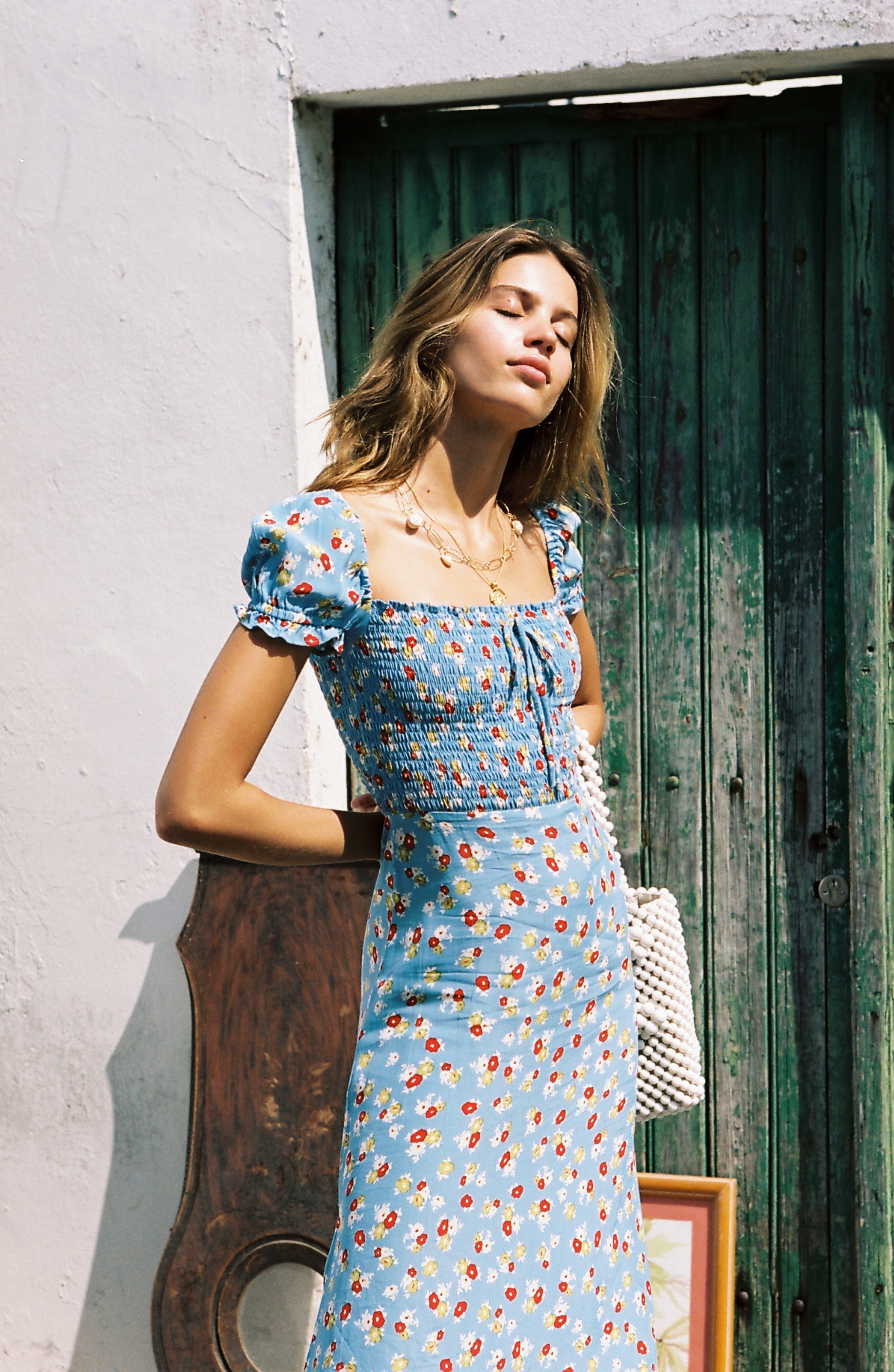 FAITHFULL THE BRAND, Castilo Jasmin Midi Dress, Alternate thumbnail 8, color, JASMIN FLORAL PRINT - BLUE