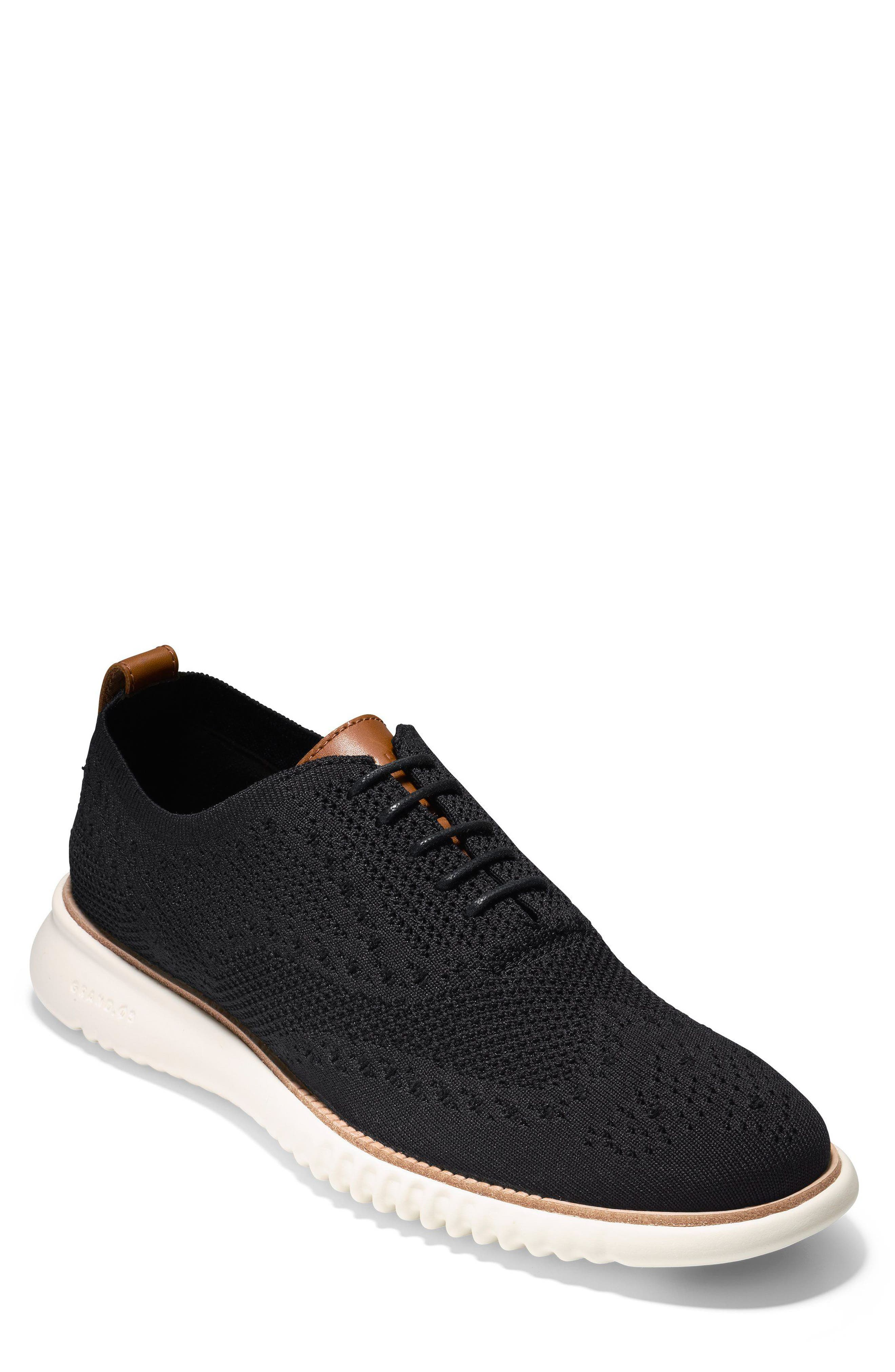 COLE HAAN 2.ZeroGrand Stitchlite Water Resistant Wingtip, Main, color, BLACK/ IVORY