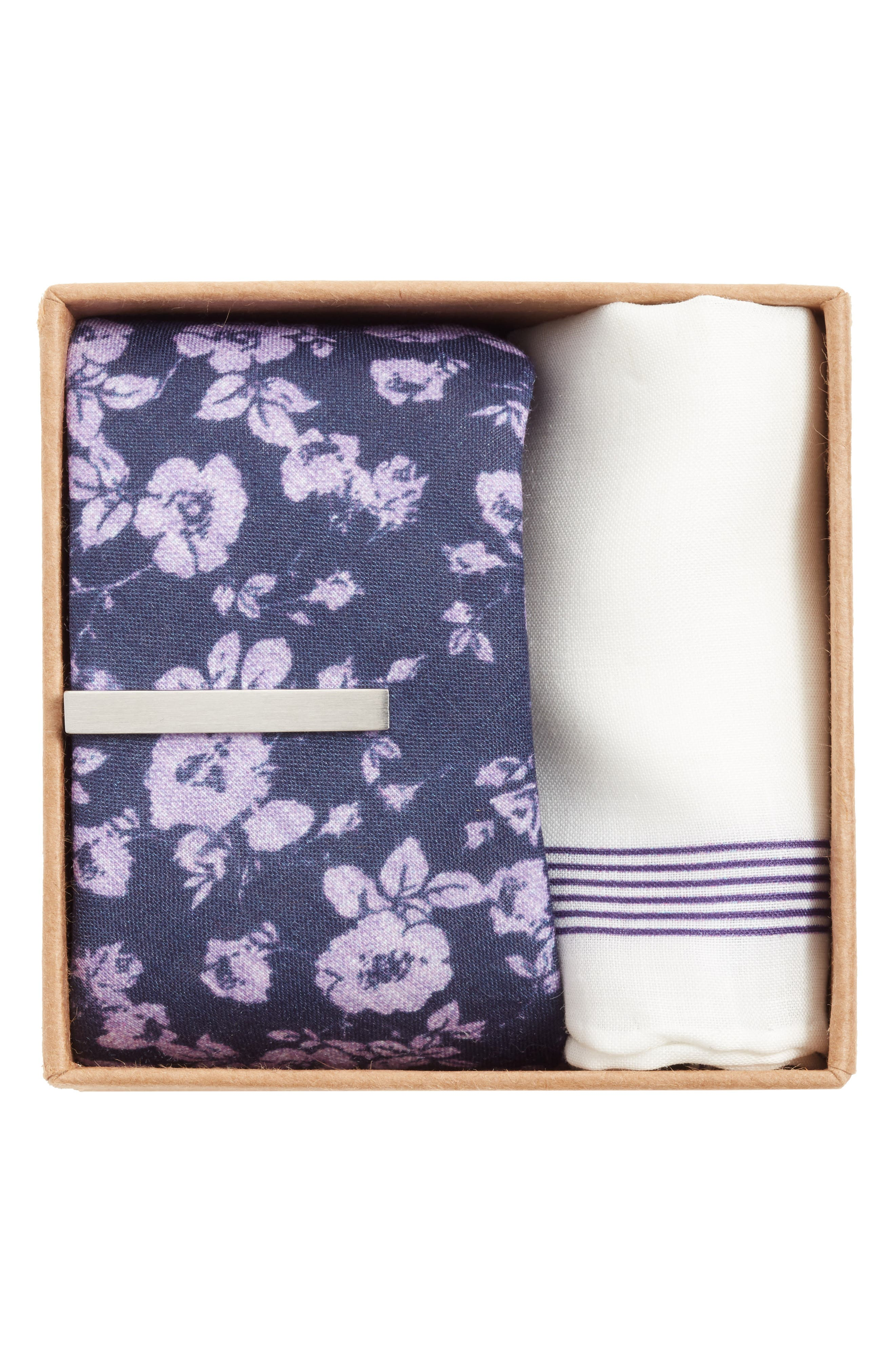 THE TIE BAR, Linen Buds Box Set, Alternate thumbnail 2, color, EGGPLANT