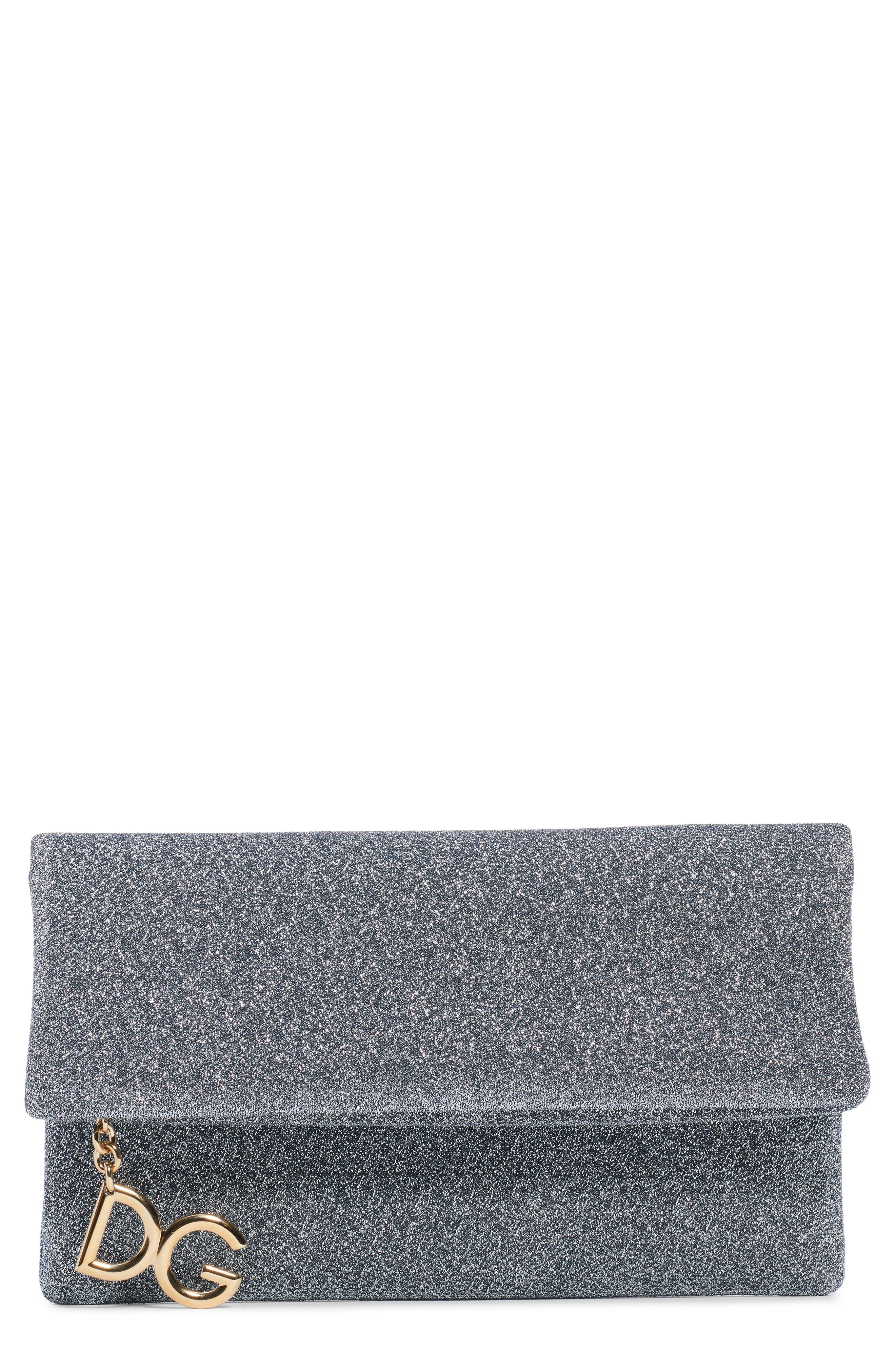 DOLCE&GABBANA Metallic Foldover Clutch, Main, color, ARGENTO SCURO