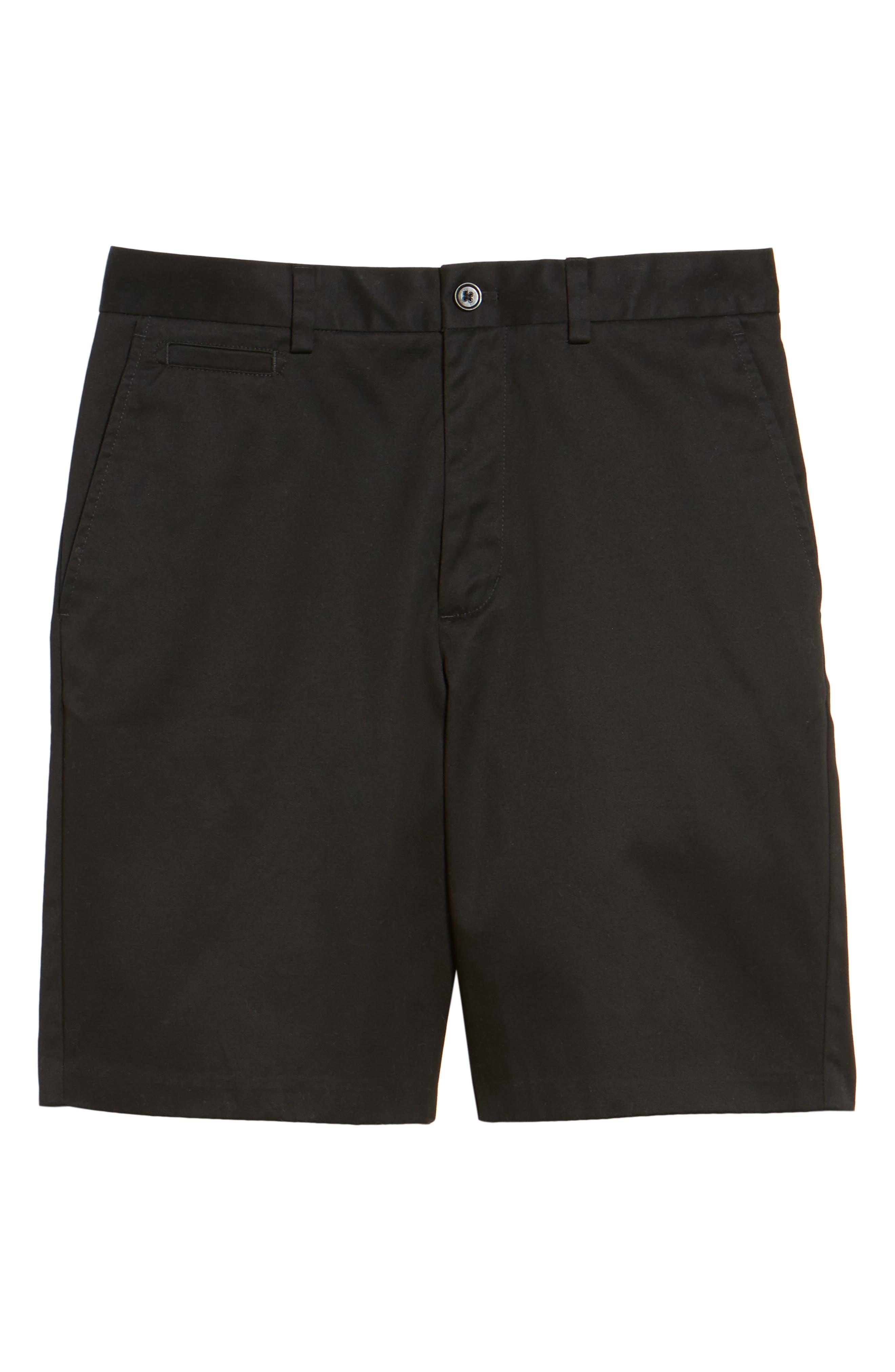 NORDSTROM MEN'S SHOP, Smartcare<sup>™</sup> Flat Front Shorts, Alternate thumbnail 6, color, BLACK