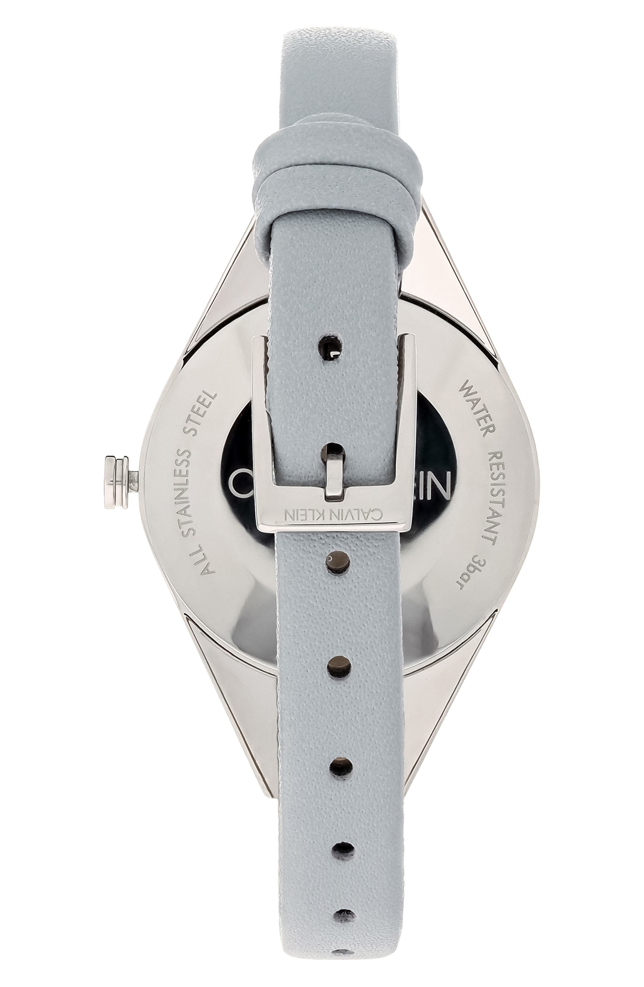 CALVIN KLEIN, Achieve Rebel Leather Band Watch, 29mm, Alternate thumbnail 2, color, GREY/ SILVER