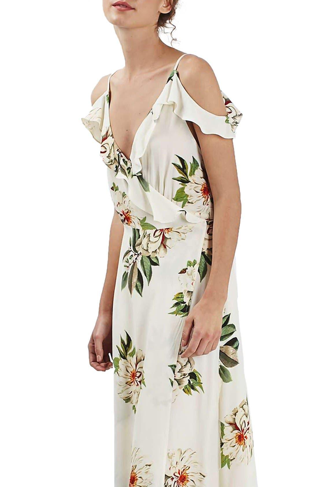 TOPSHOP, Floral Print Ruffle Cold Shoulder Wrap Maxi Dress, Main thumbnail 1, color, 900
