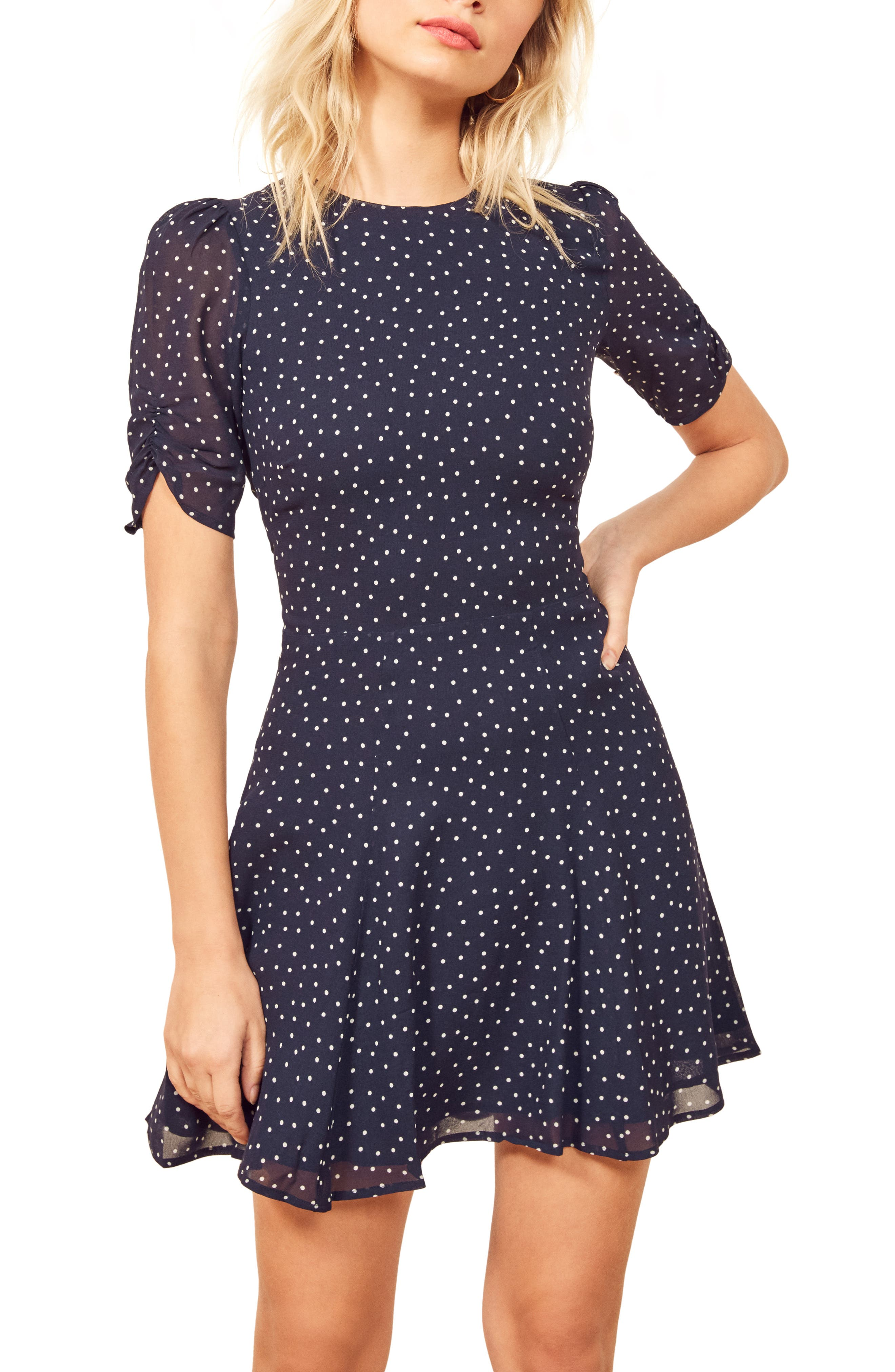 REFORMATION Gracie Ruched Sleeve Minidress, Main, color, DOTSIE
