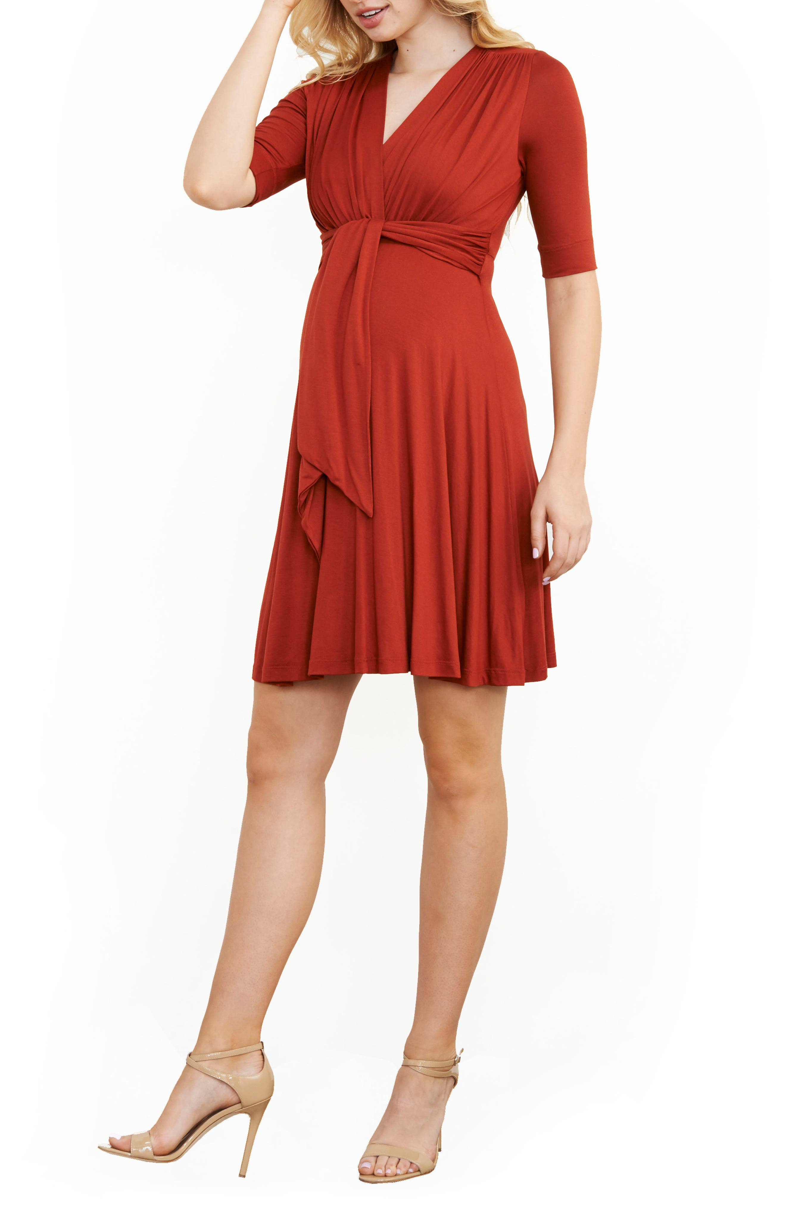 MATERNAL AMERICA, Maternity Tie Front Dress, Main thumbnail 1, color, RUST
