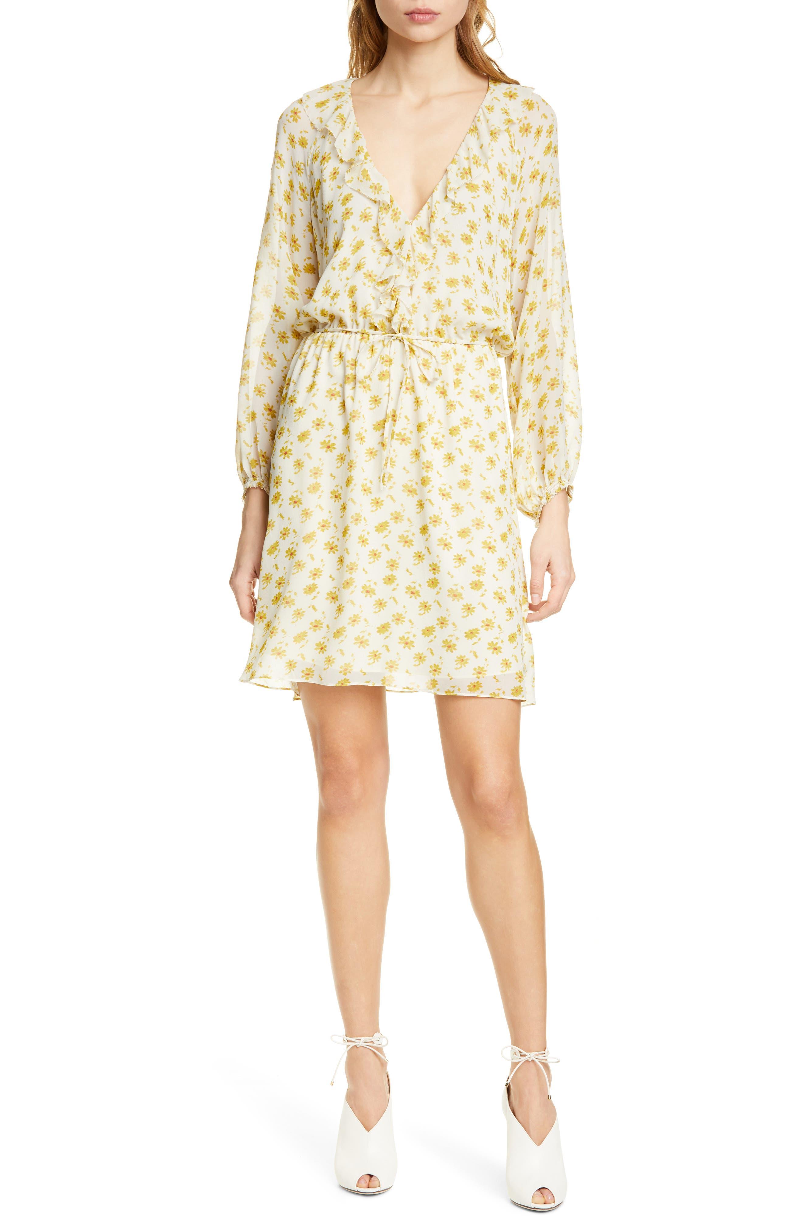 Joie Marelle Ruffle Neck Long Sleeve Silk Dress, Yellow