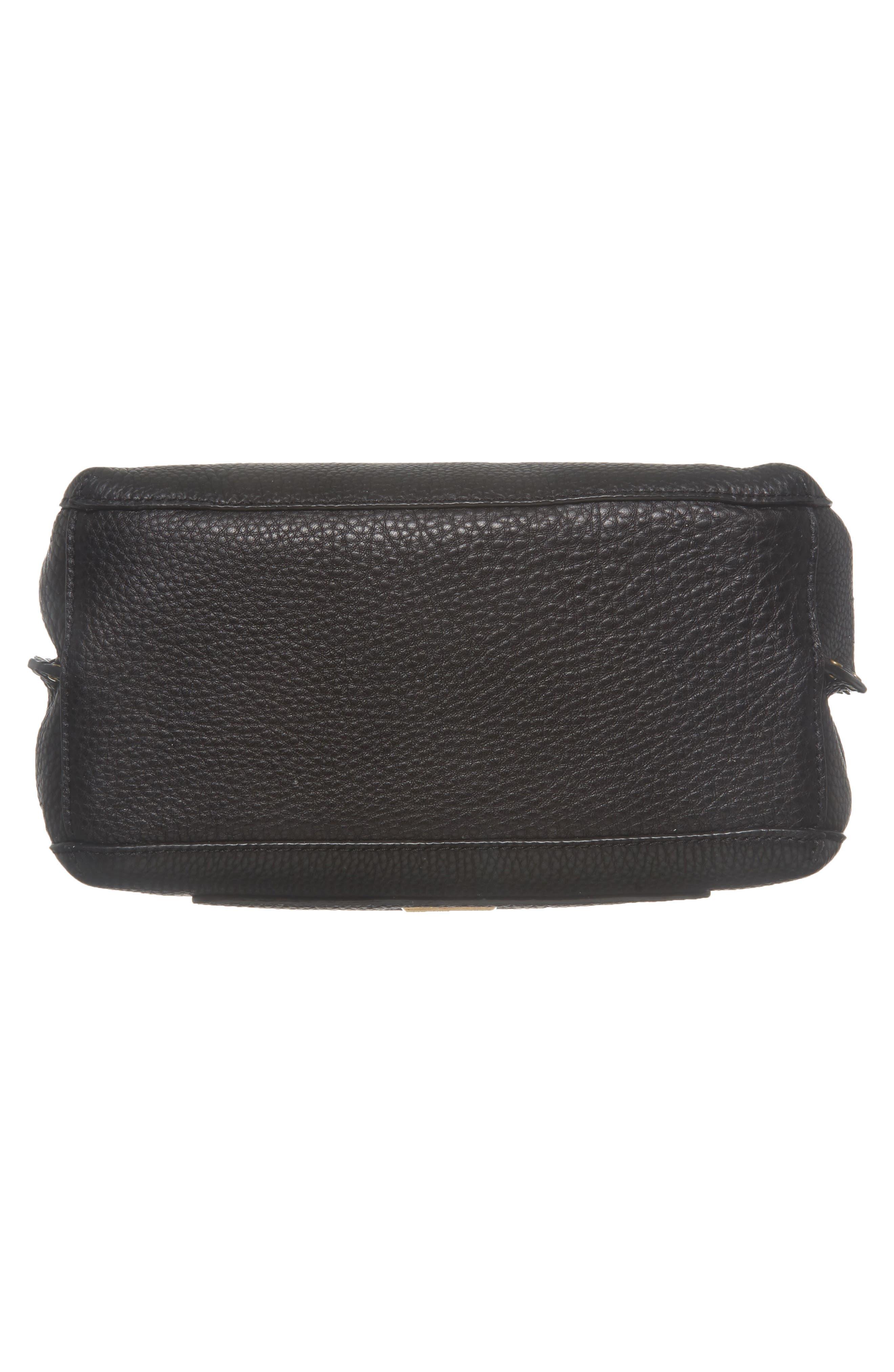REBECCA MINKOFF, Darren Deerskin Leather Shoulder Bag, Alternate thumbnail 7, color, BLACK