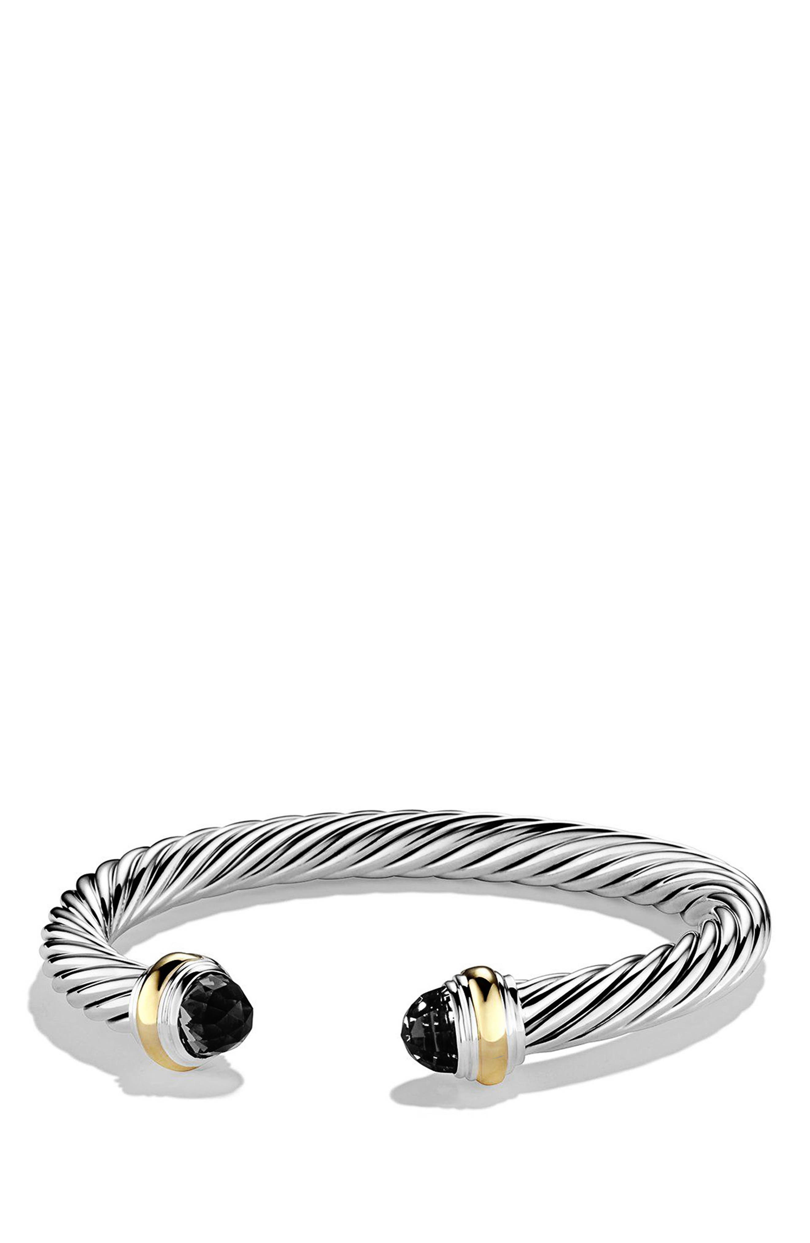 DAVID YURMAN, Cable Classics Bracelet with Semiprecious Stones & 14K Gold, 7mm, Main thumbnail 1, color, BLACK ONYX
