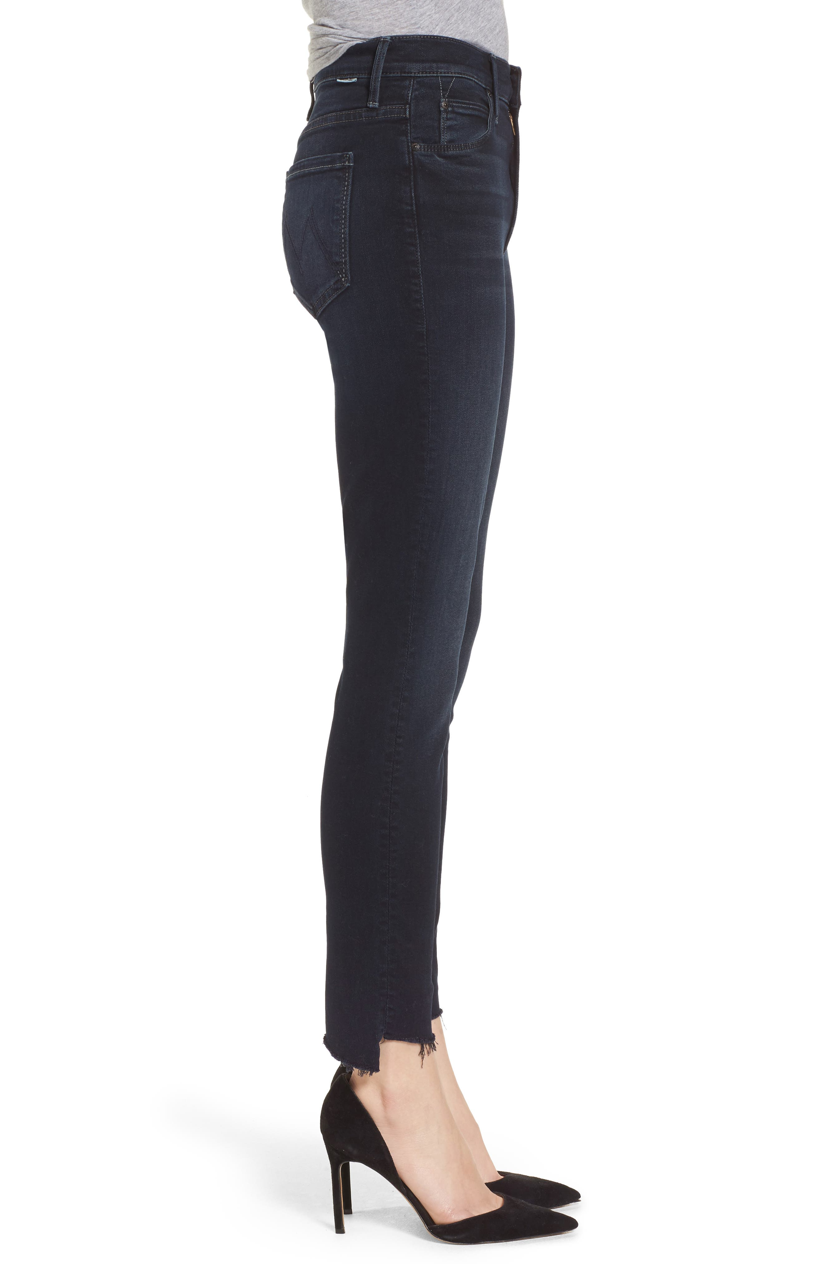 MOTHER, The Stunner High Waist Fray Ankle Skinny Jeans, Alternate thumbnail 4, color, LAST CALL