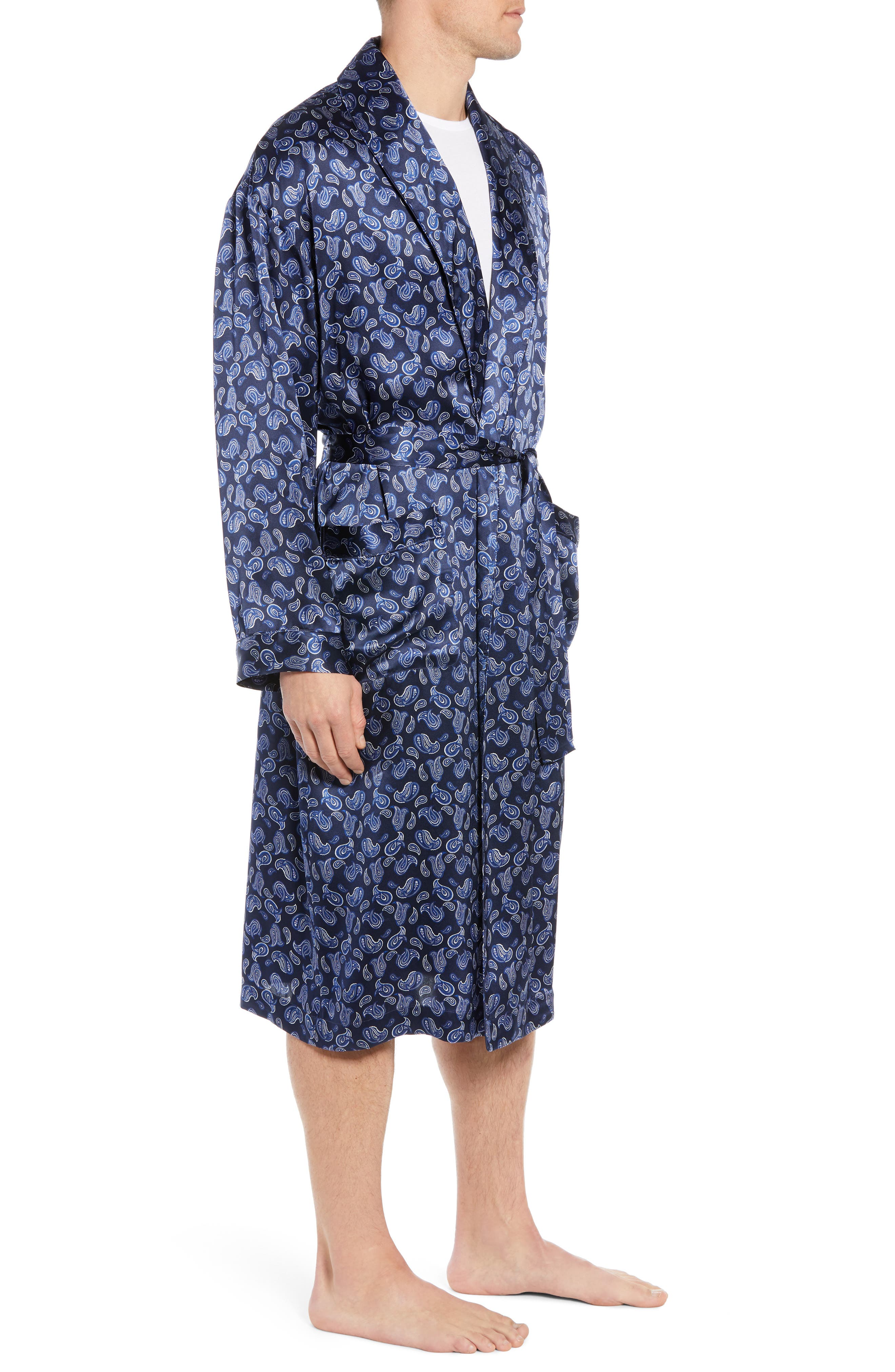 MAJESTIC INTERNATIONAL, Sapphire Silk Robe, Alternate thumbnail 3, color, NAVY PAISLEY