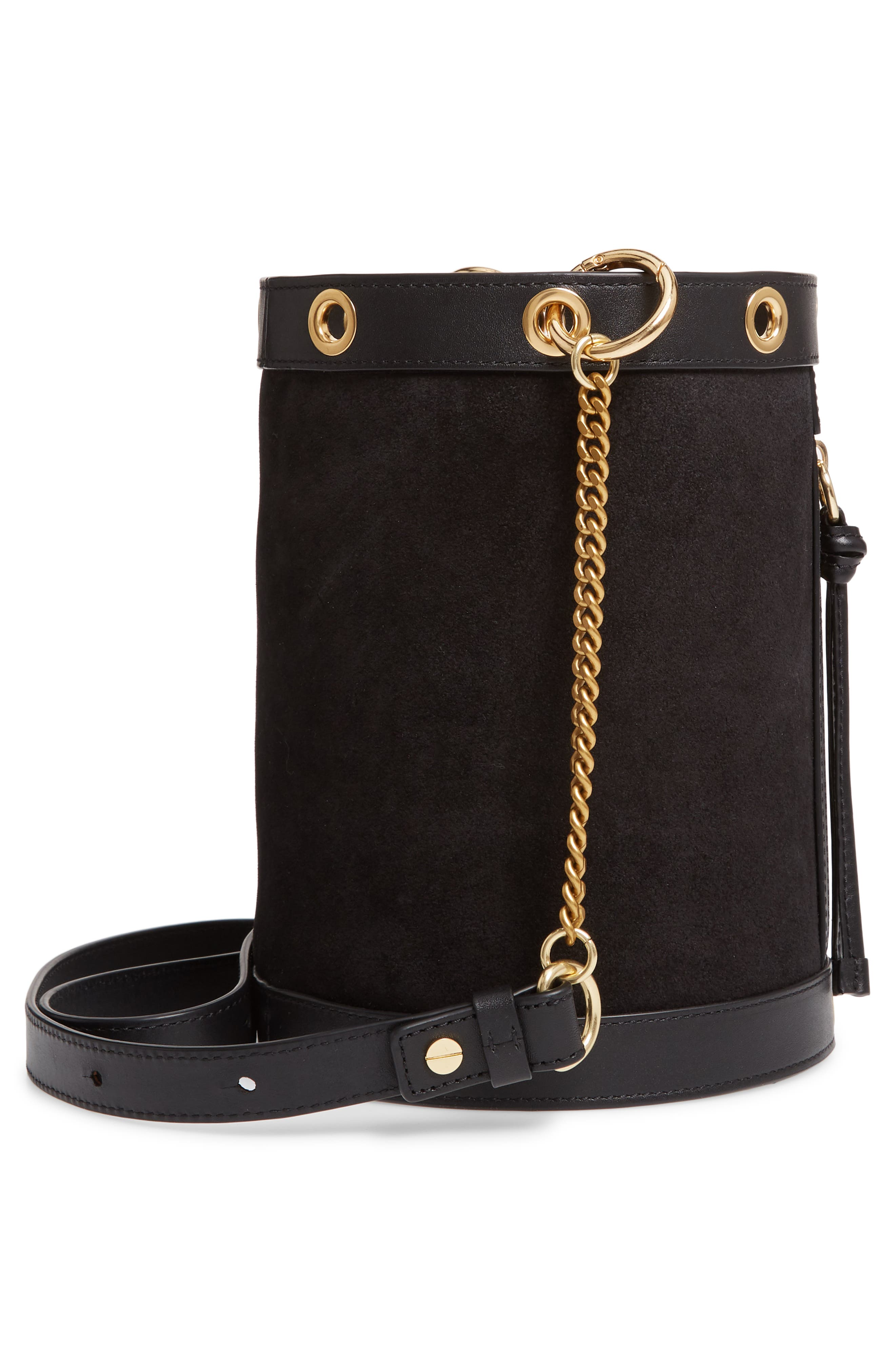 SEE BY CHLOÉ, Debbie Leather Bucket Bag, Alternate thumbnail 6, color, 001