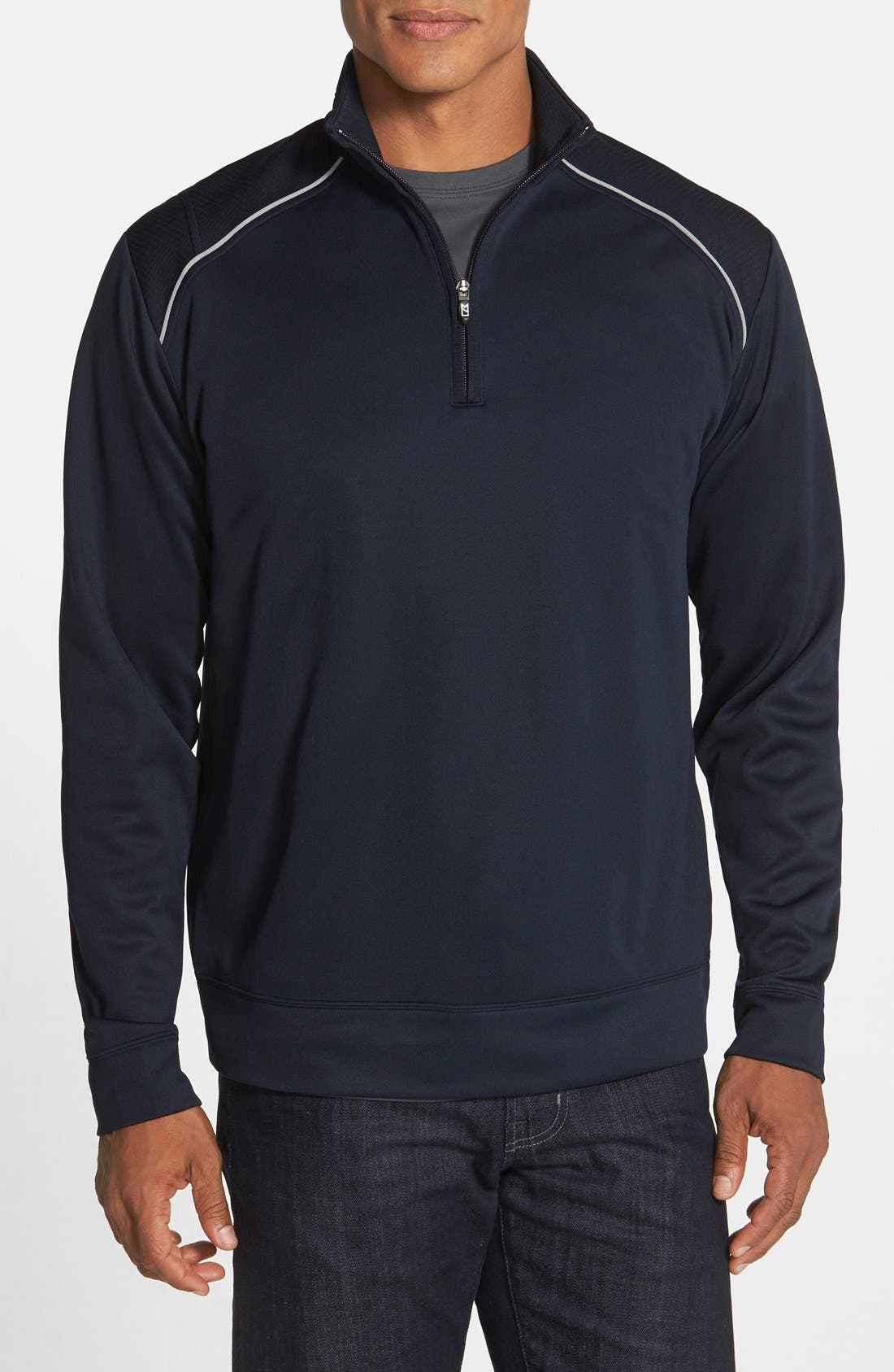 CUTTER & BUCK, Ridge WeatherTec Wind & Water Resistant Pullover, Main thumbnail 1, color, NAVY BLUE