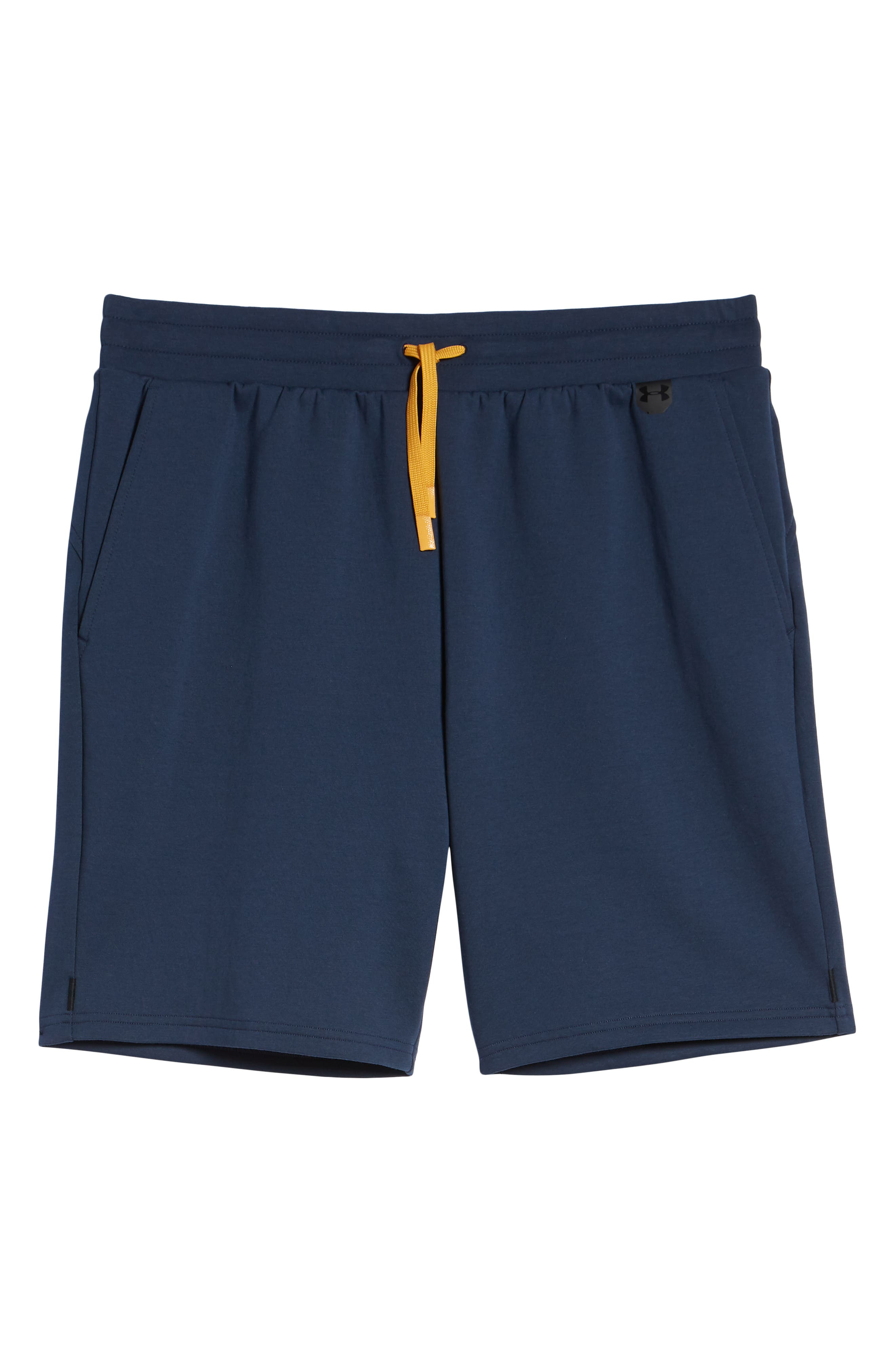 UNDER ARMOUR, Unstoppable Knit Shorts, Alternate thumbnail 7, color, SUMMER NIGHT / YELLOW / BLACK