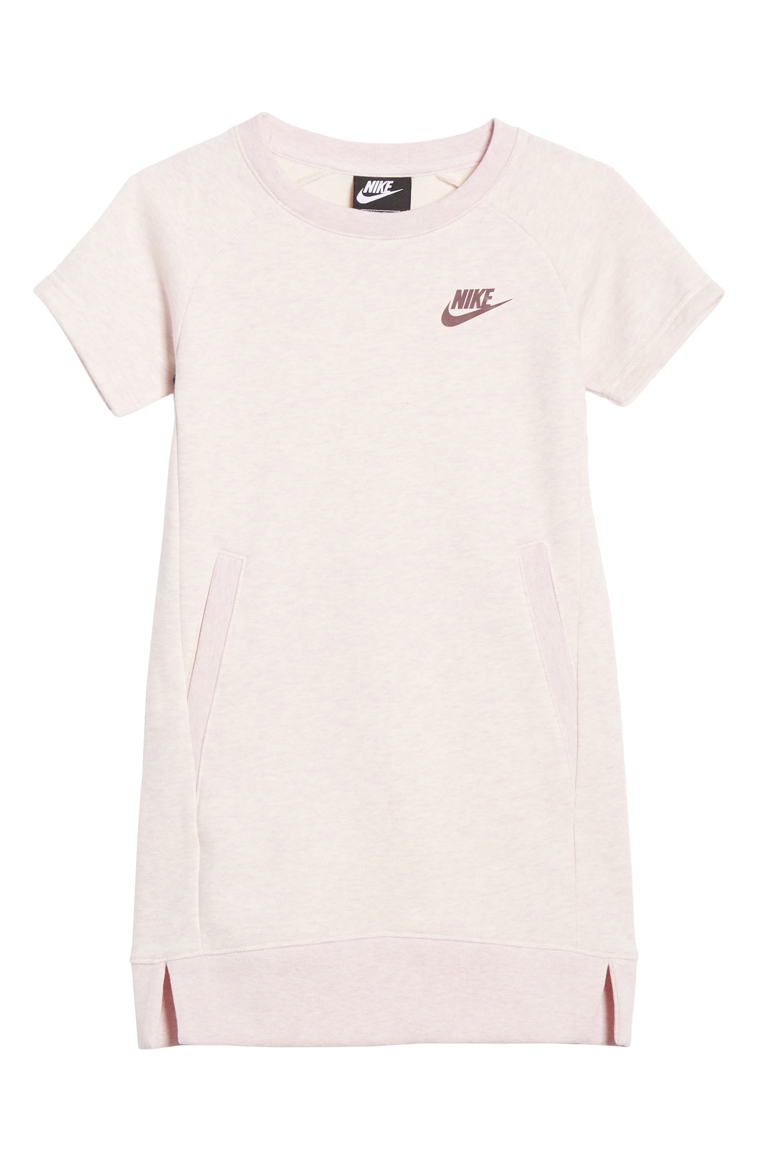 NIKE, French Terry Dress, Main thumbnail 1, color, PINK FOAM HEATHER