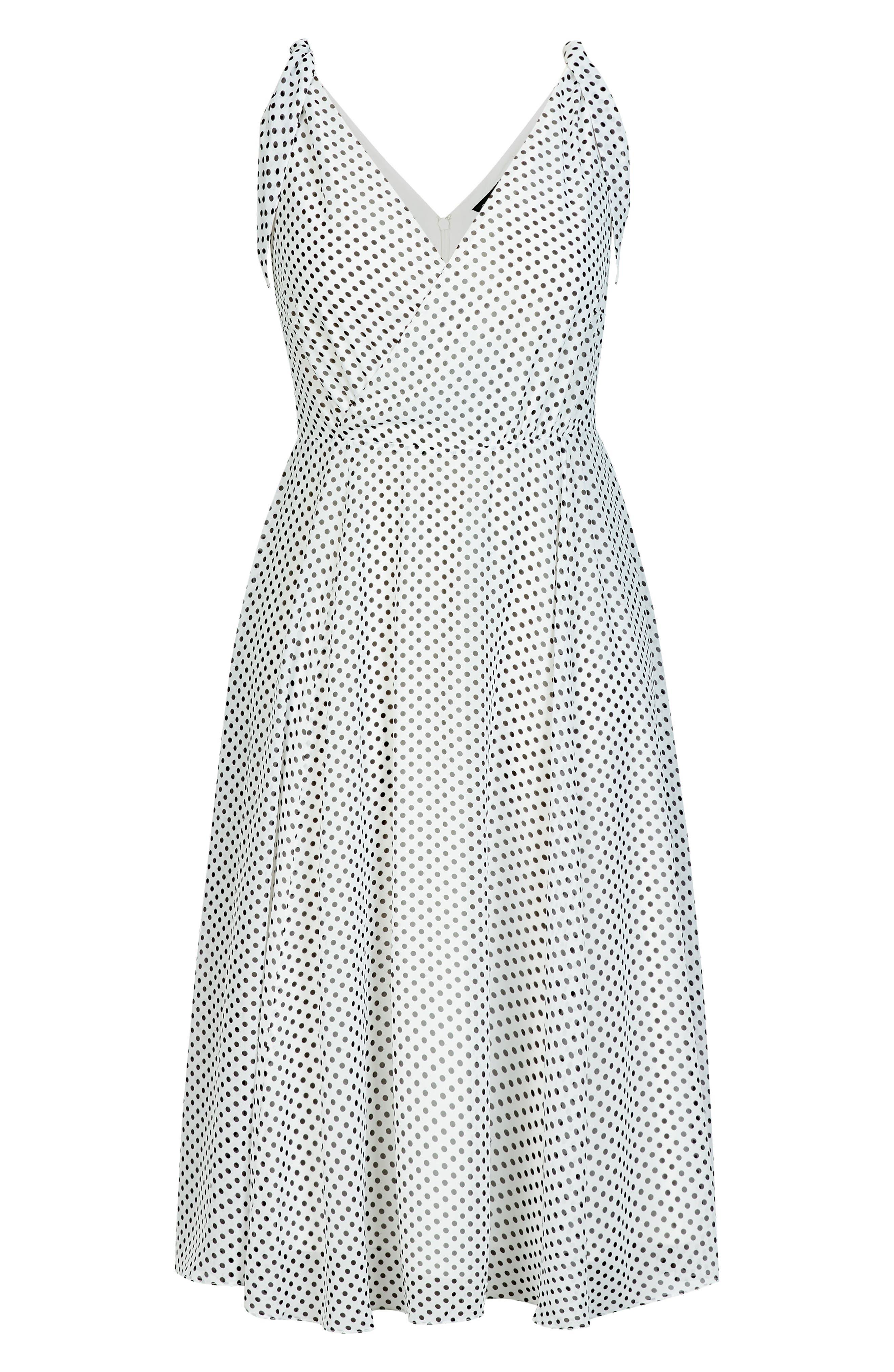 CITY CHIC, Alika Dot Fit & Flare Dress, Alternate thumbnail 8, color, IVORY