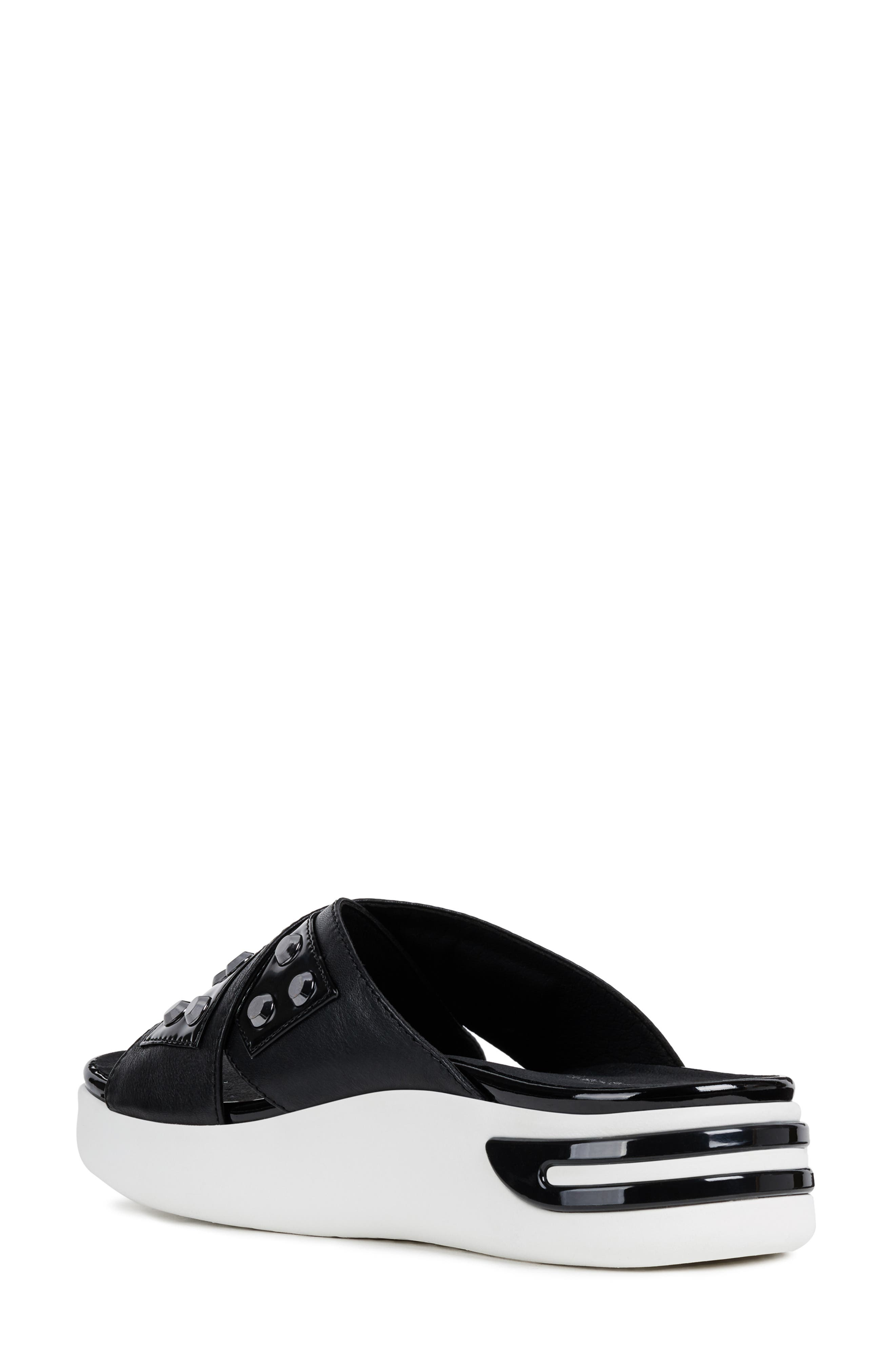 GEOX, Ottaya Studded Slide Sandal, Alternate thumbnail 2, color, BLACK LEATHER