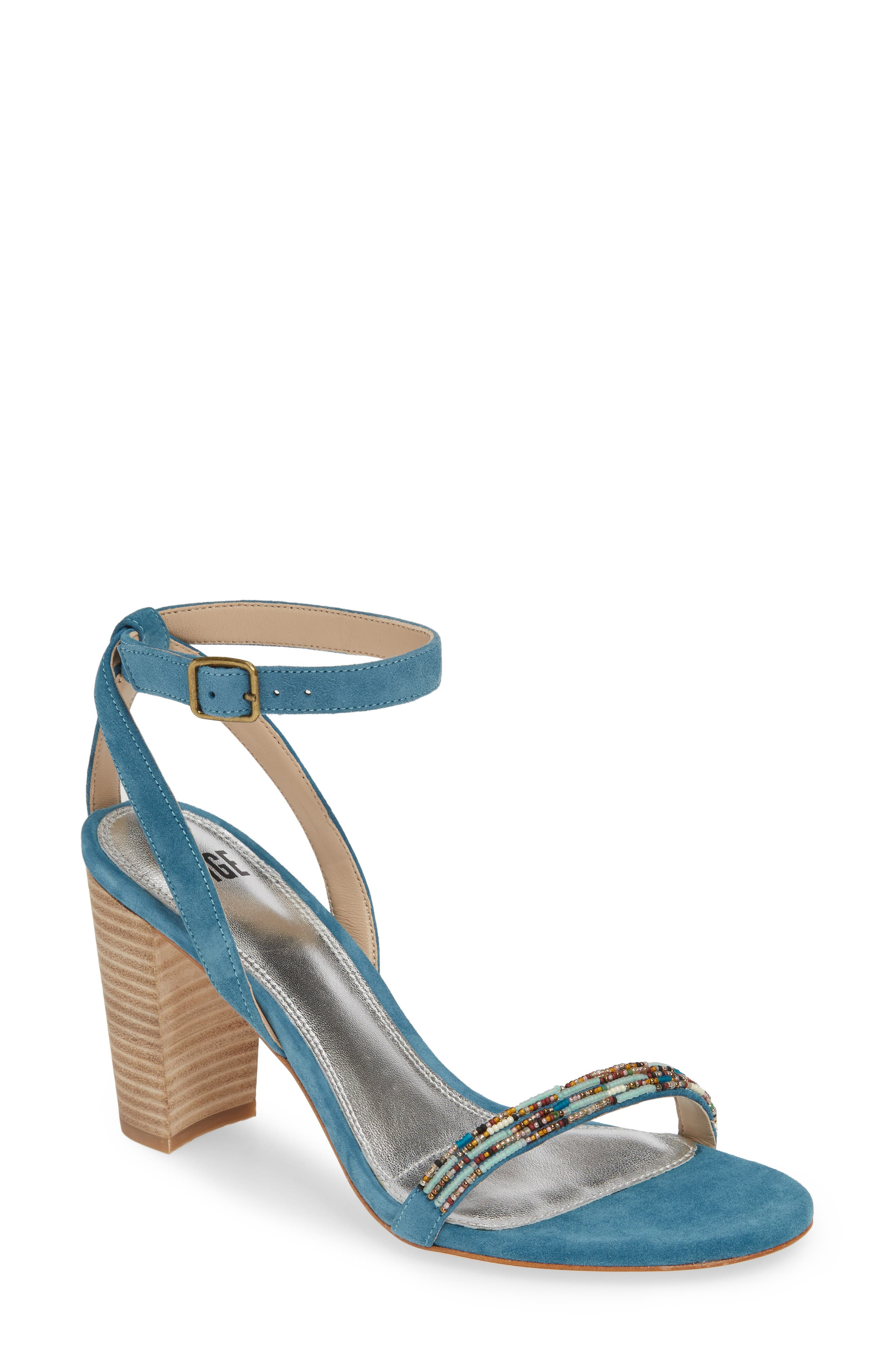 PAIGE Gabriella Beaded Sandal, Main, color, BLUE