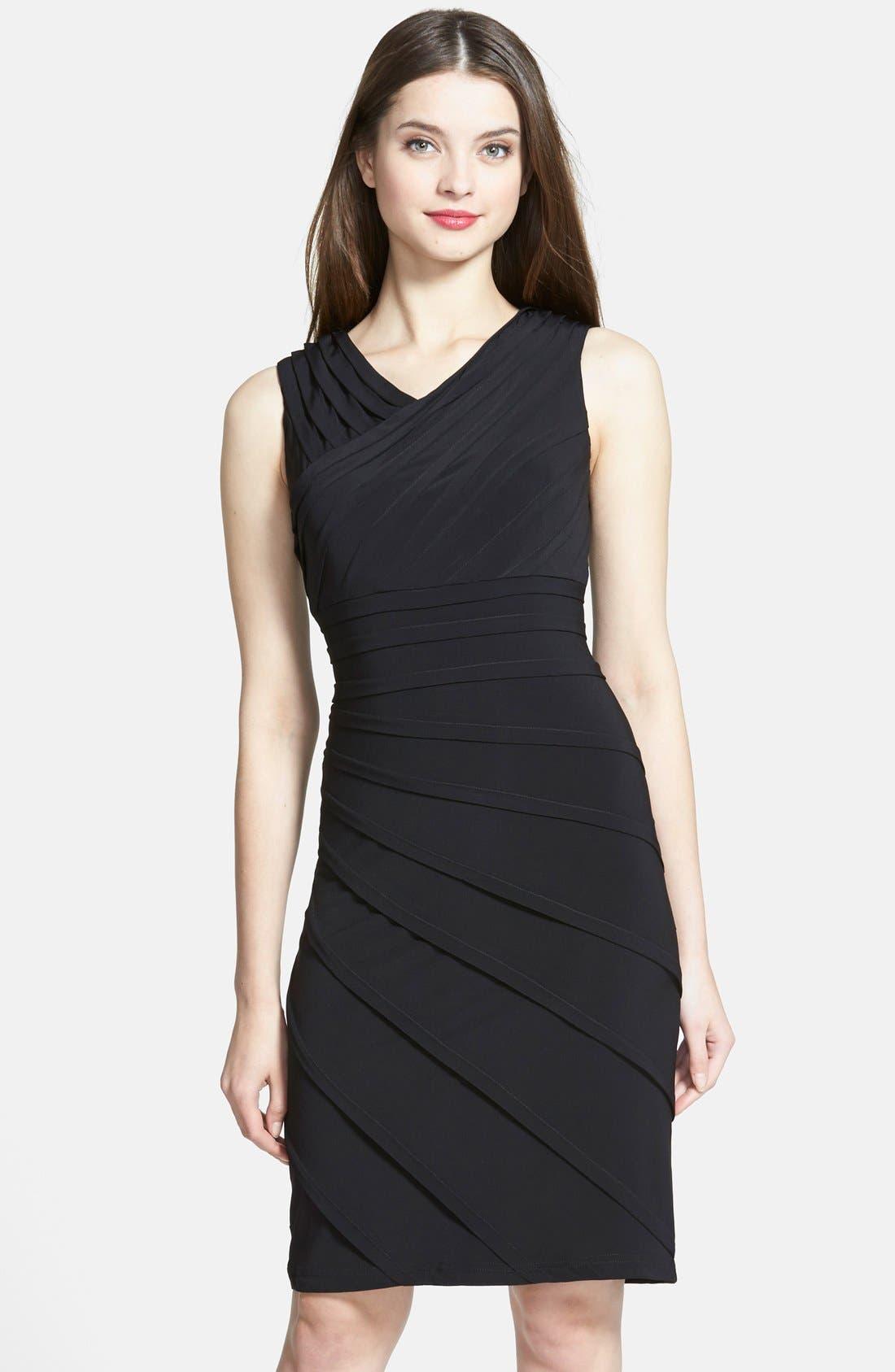 ADRIANNA PAPELL, V-Neck Shutter Pleat Sheath Dress, Main thumbnail 1, color, 001