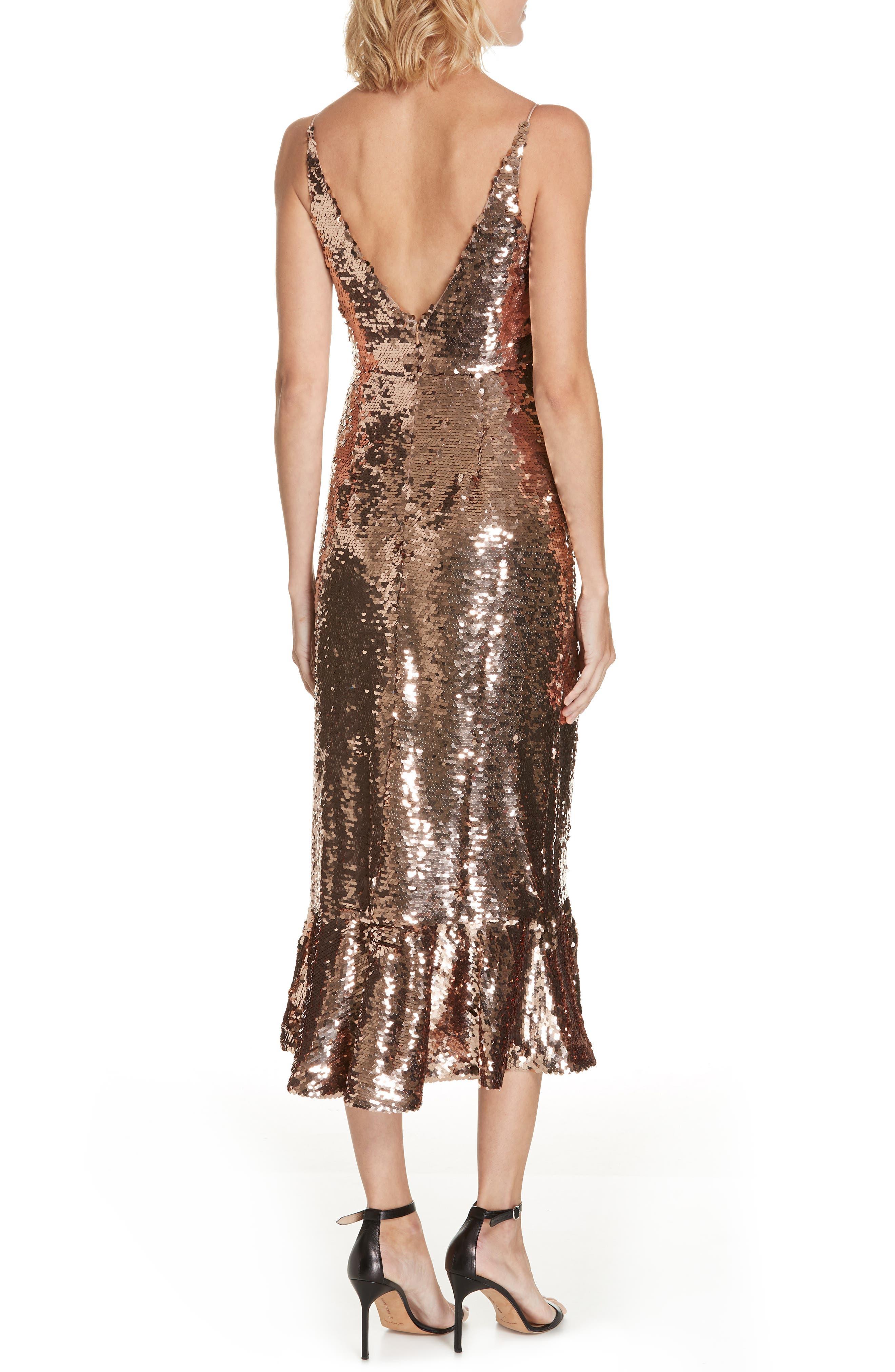 SALONI, Aidan Sequin Ruffle Hem Midi Dress, Alternate thumbnail 2, color, BRONZE