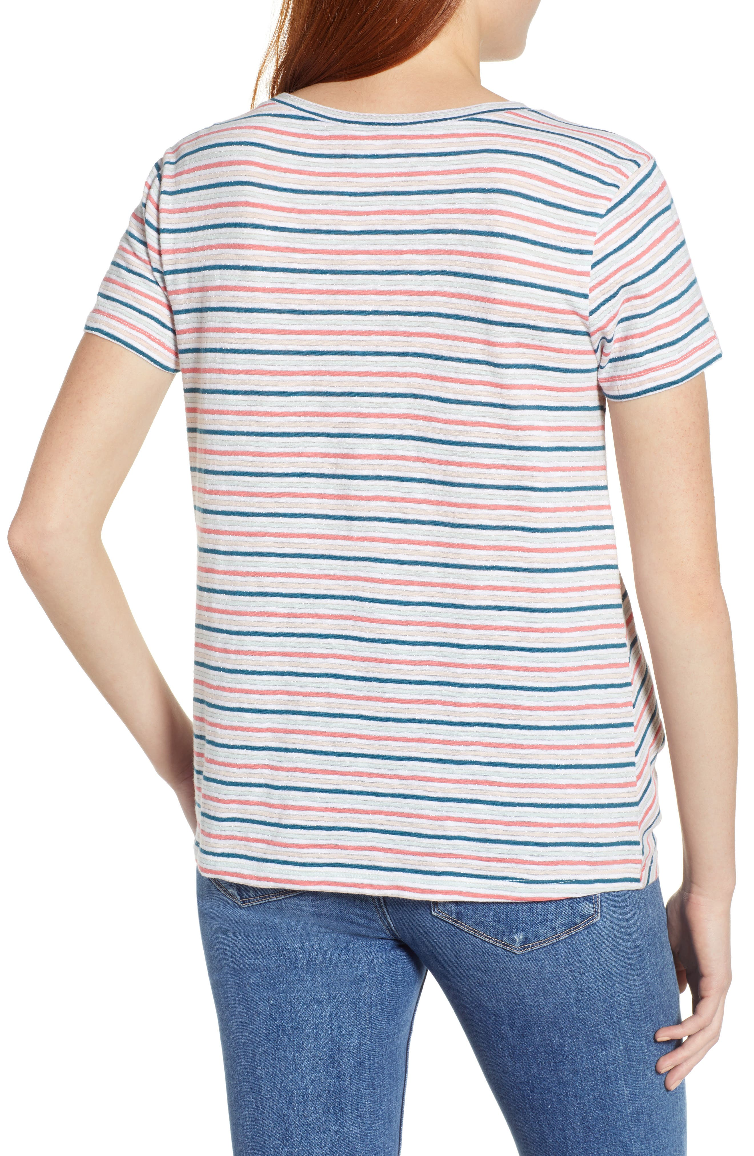 CASLON<SUP>®</SUP>, Metallic Stripe Knot Front Tee, Alternate thumbnail 2, color, IVORY- BLUE CANDY STP