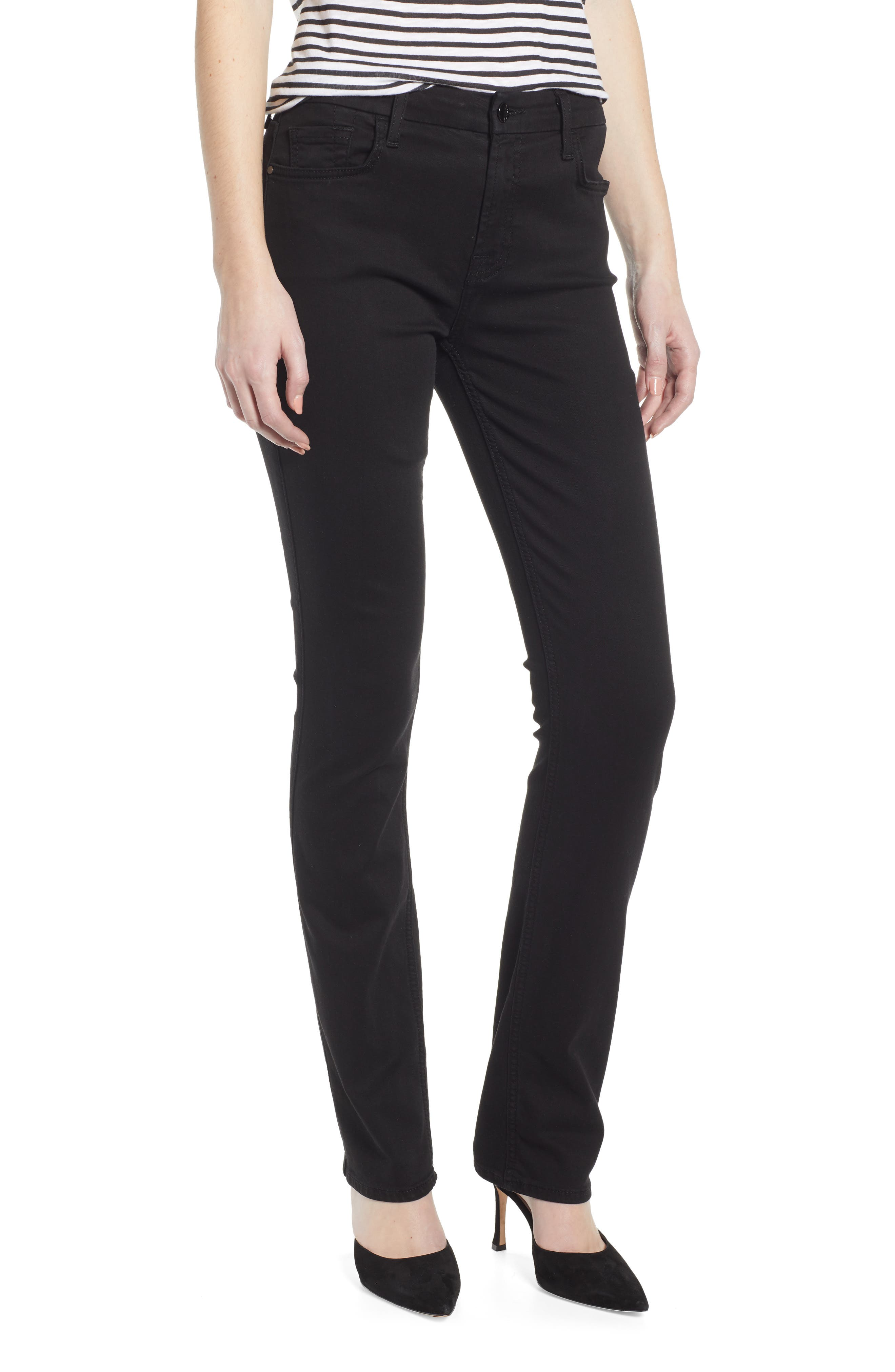 JEN7 BY 7 FOR ALL MANKIND, Stretch Slim Straight Leg Jeans, Main thumbnail 1, color, CLASSIC BLACK NOIR
