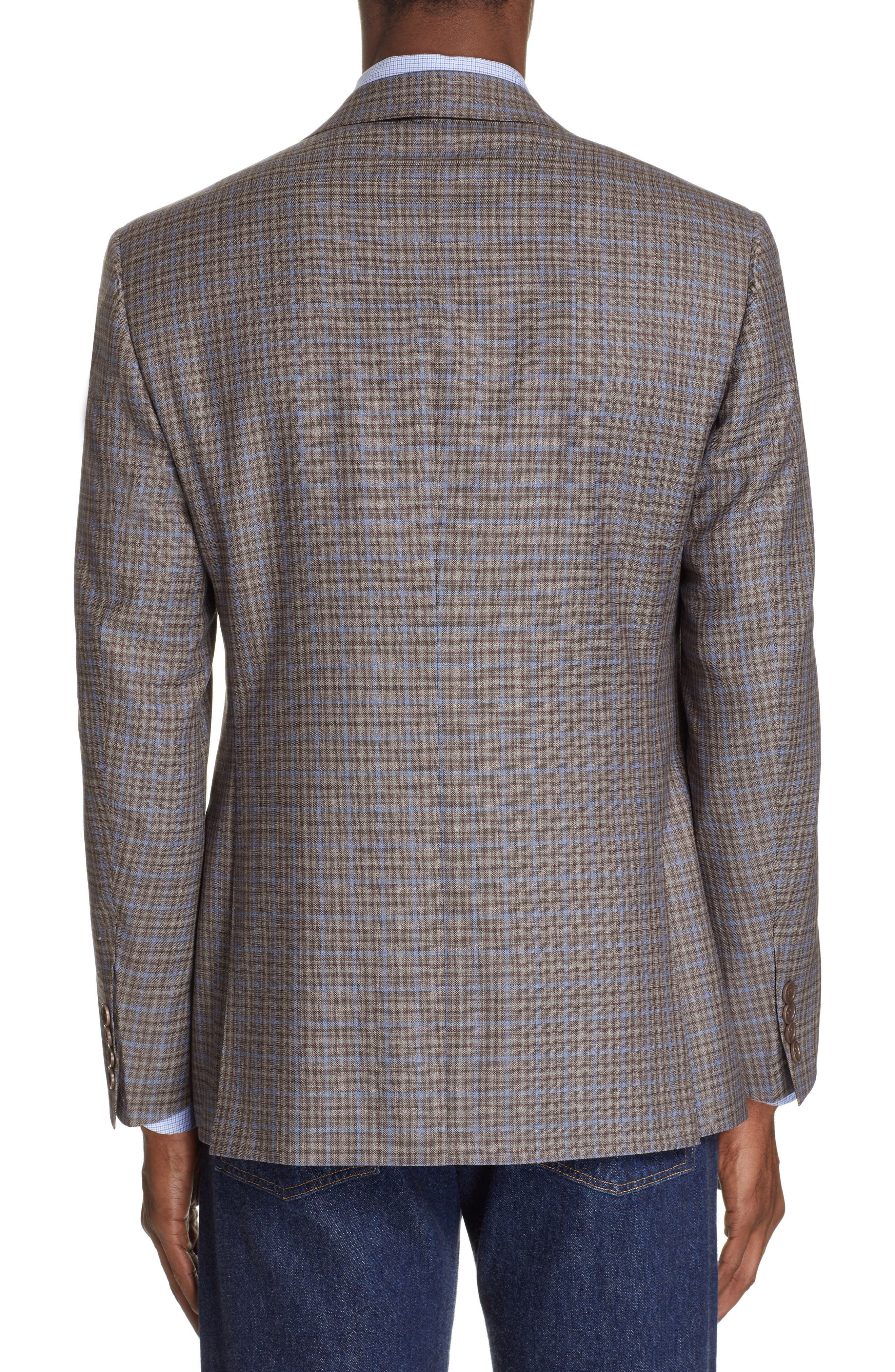 CANALI, Sienna Classic Fit Plaid Wool Sport Coat, Alternate thumbnail 2, color, BROWN