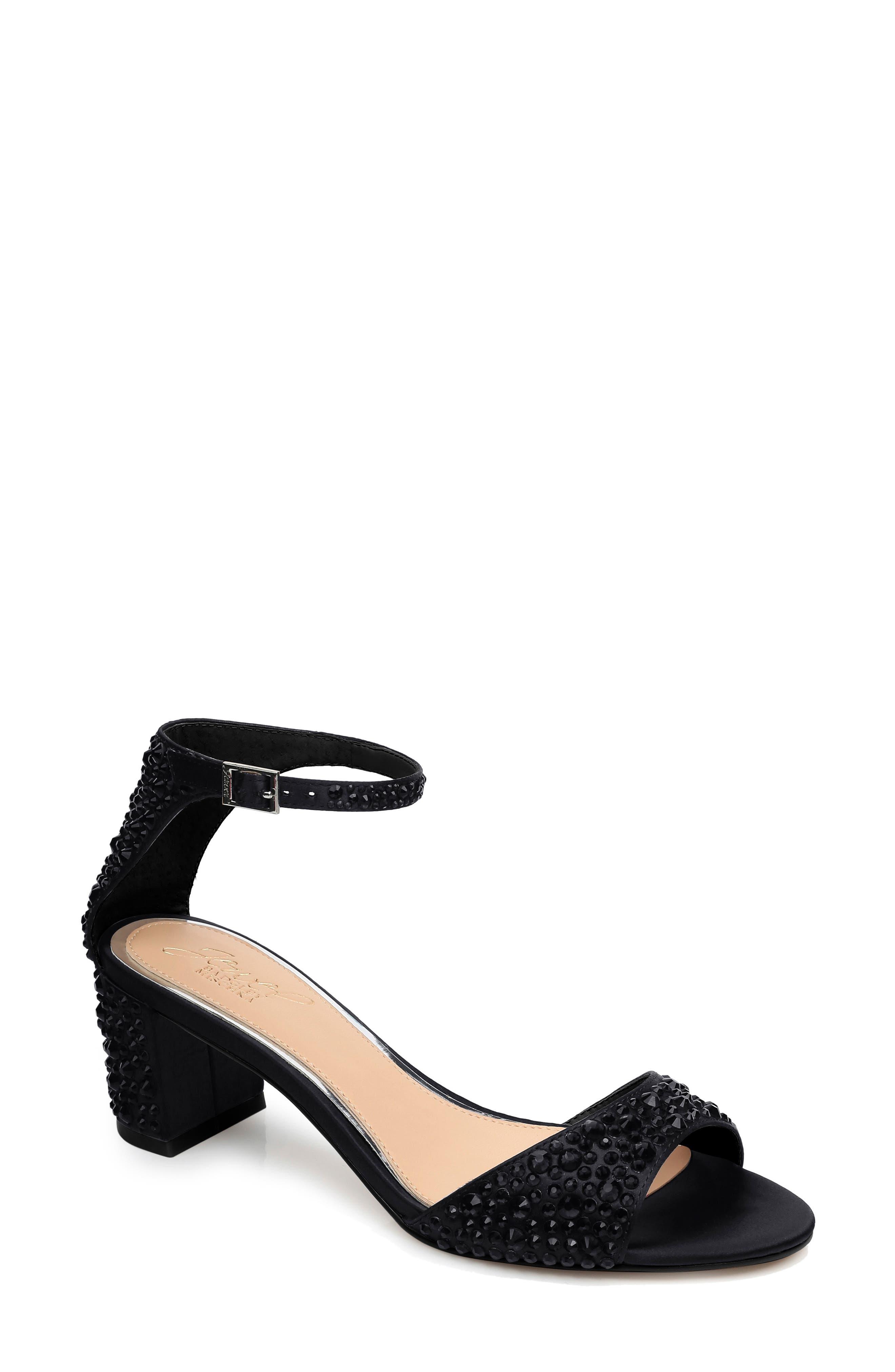 JEWEL BADGLEY MISCHKA Crystal Block Heel Sandal, Main, color, BLACK CRYSTAL SATIN