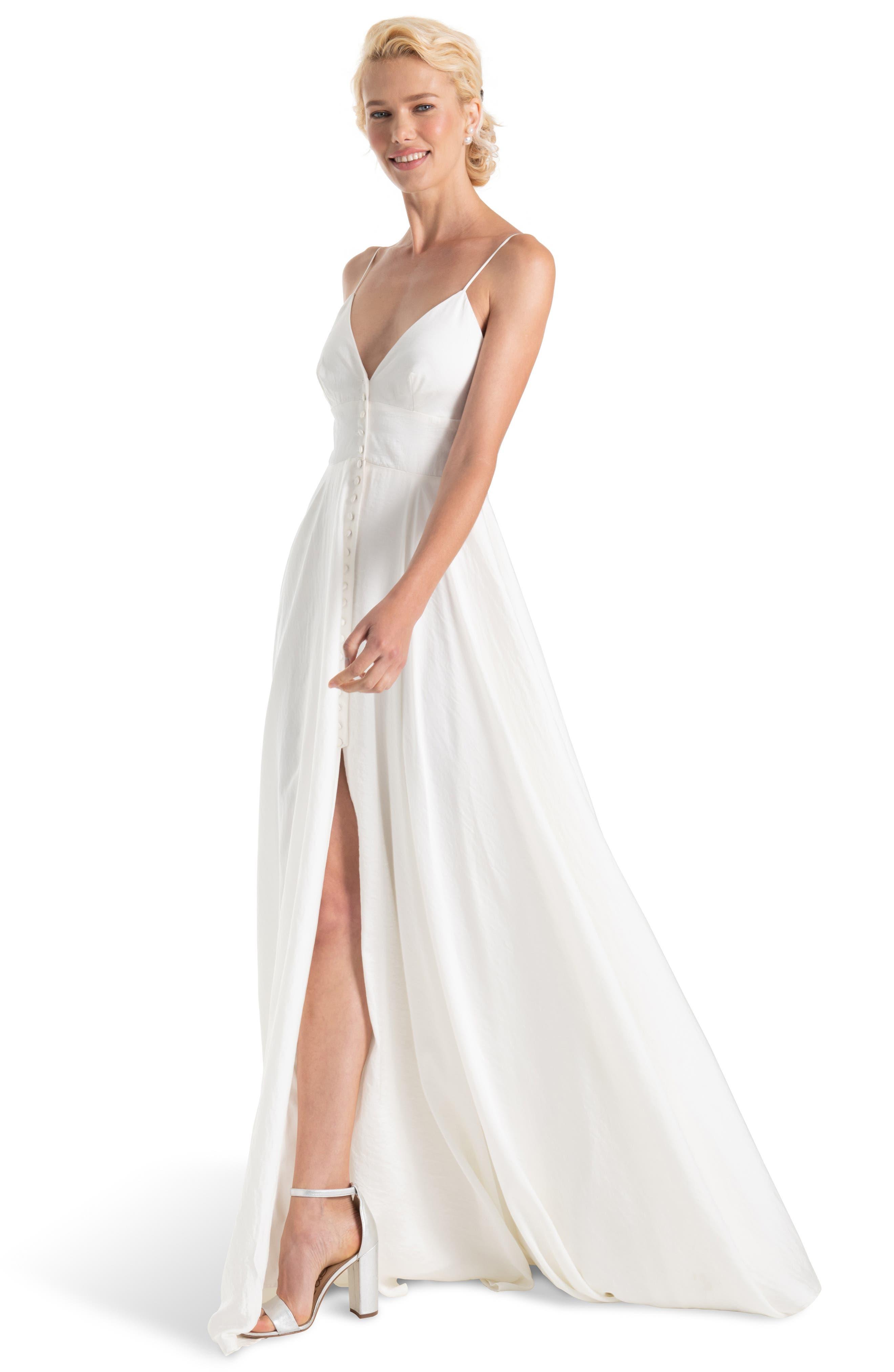 JOANNA AUGUST, Nancy V-Neck Crepe Wedding Dress, Alternate thumbnail 3, color, WHITE