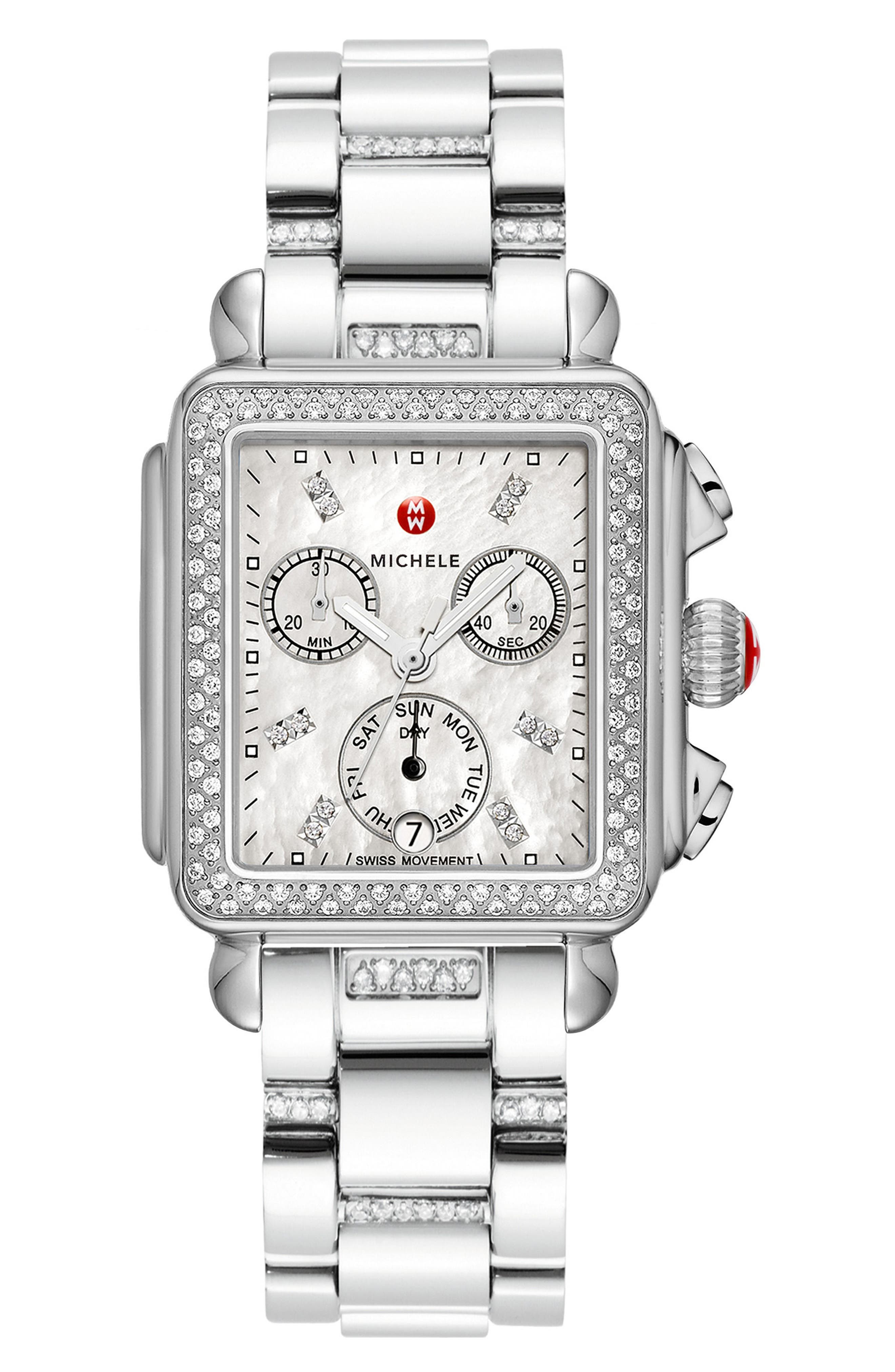 MICHELE, Deco Diamond Diamond Dial Watch Head, 33mm x 35mm, Alternate thumbnail 3, color, SILVER