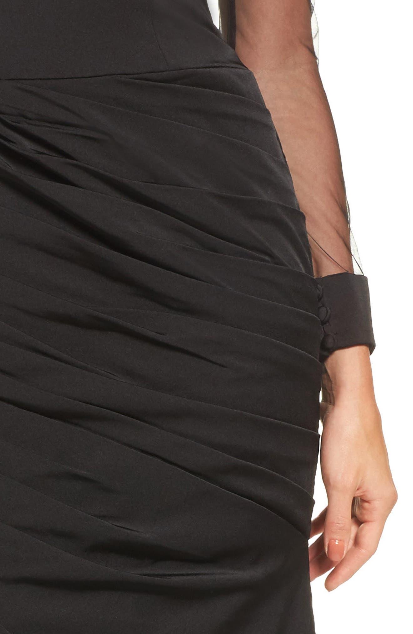 LA FEMME, Sheer Sleeve Gown, Alternate thumbnail 4, color, BLACK