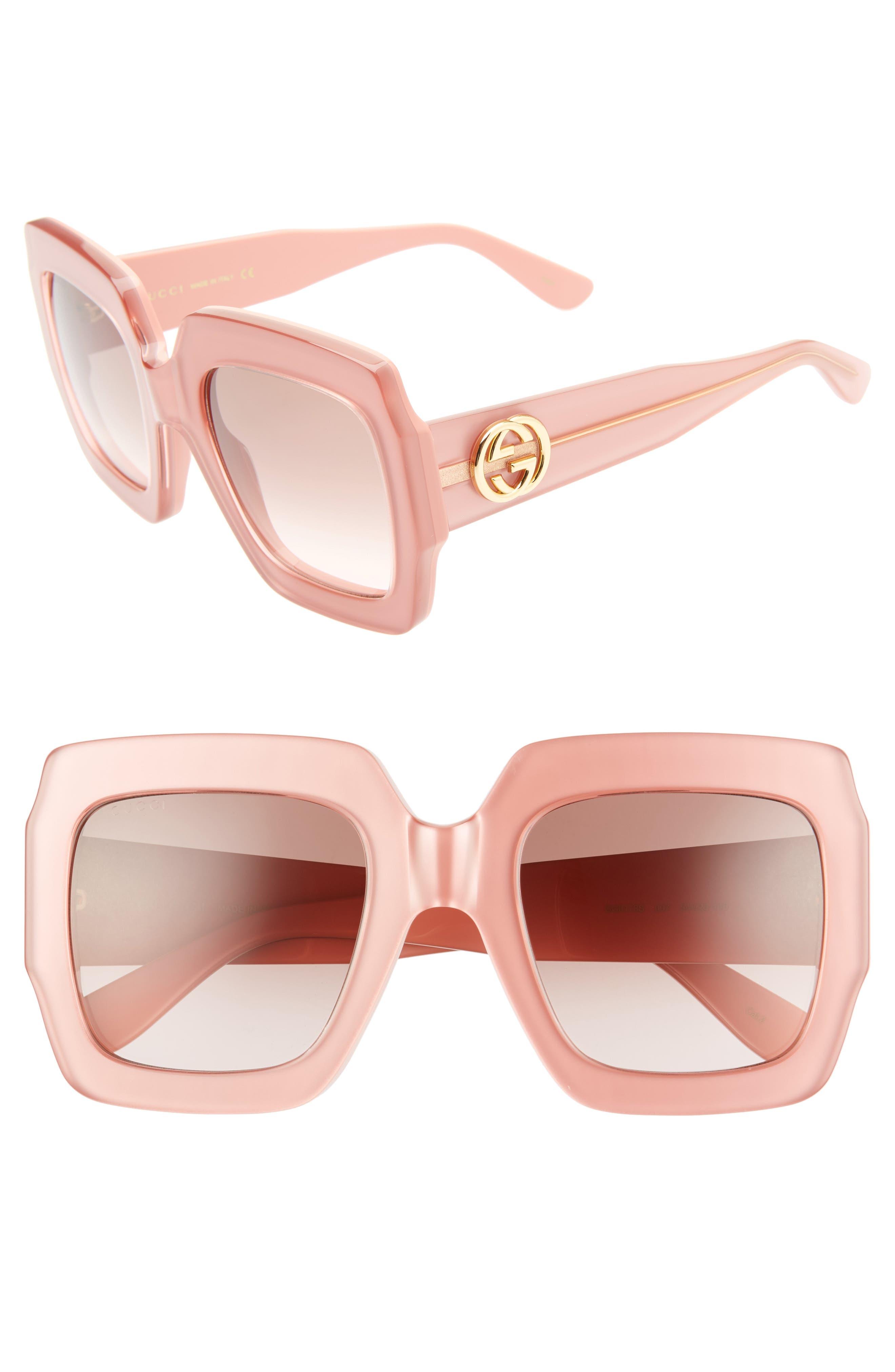GUCCI, 54mm Square Sunglasses, Main thumbnail 1, color, SHNY MULTLAY GLOSS ROSE/BRN