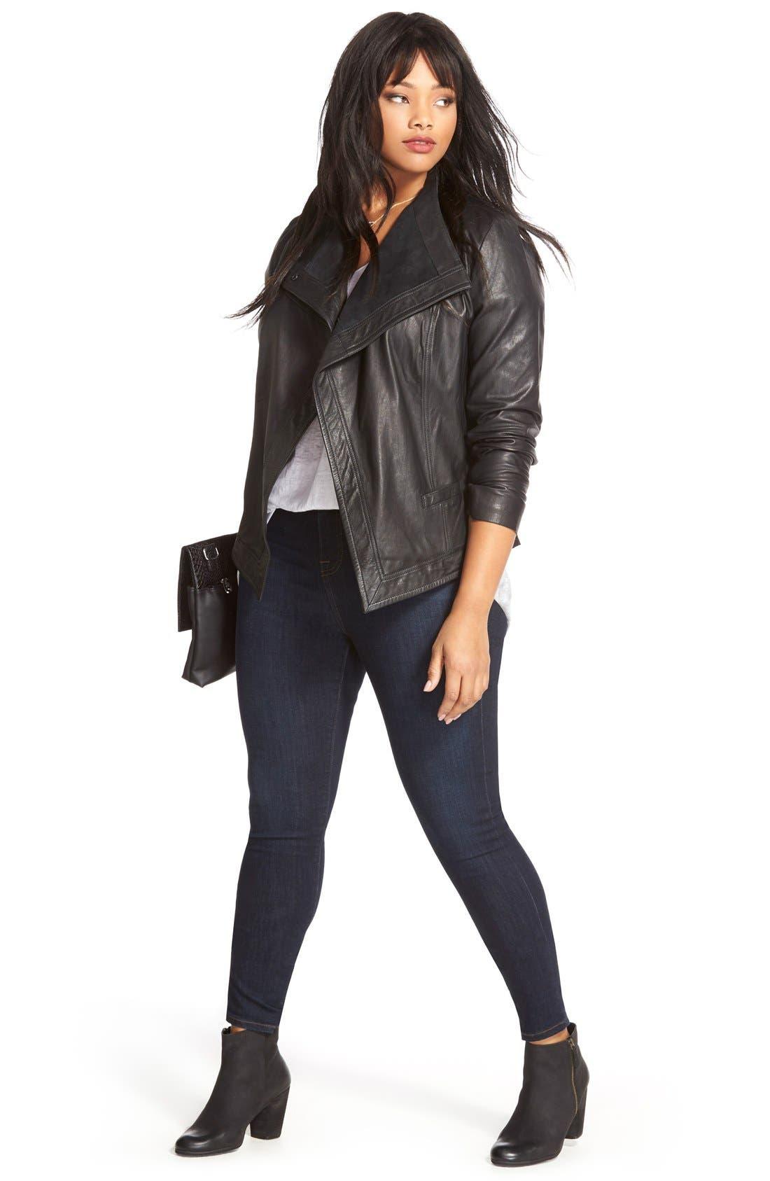 SEJOUR, Asymmetrical Leather Jacket, Alternate thumbnail 2, color, 002