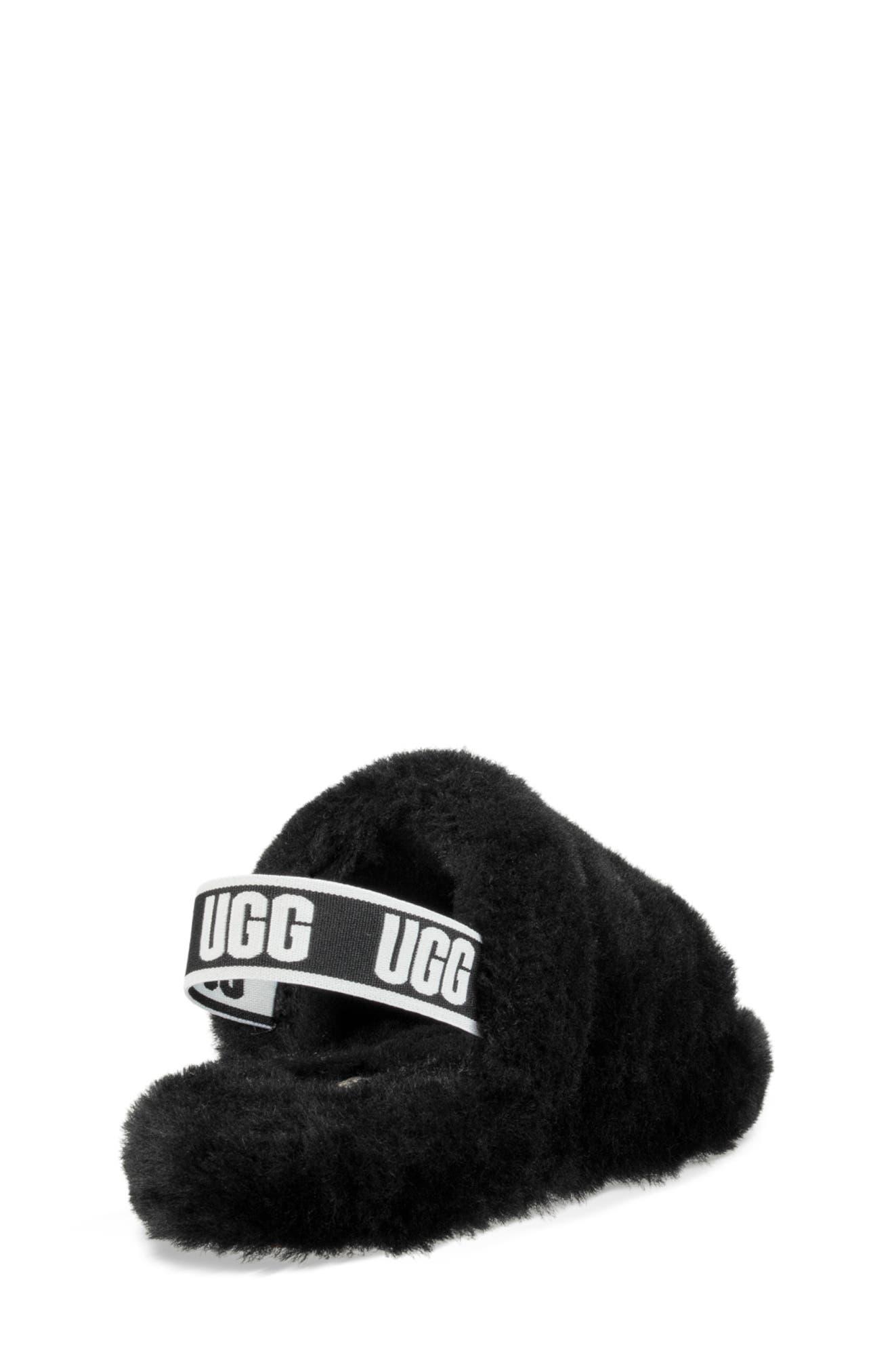 UGG<SUP>®</SUP>, Fluff Yeah Genuine Shearling Slide Sandal, Alternate thumbnail 2, color, BLACK