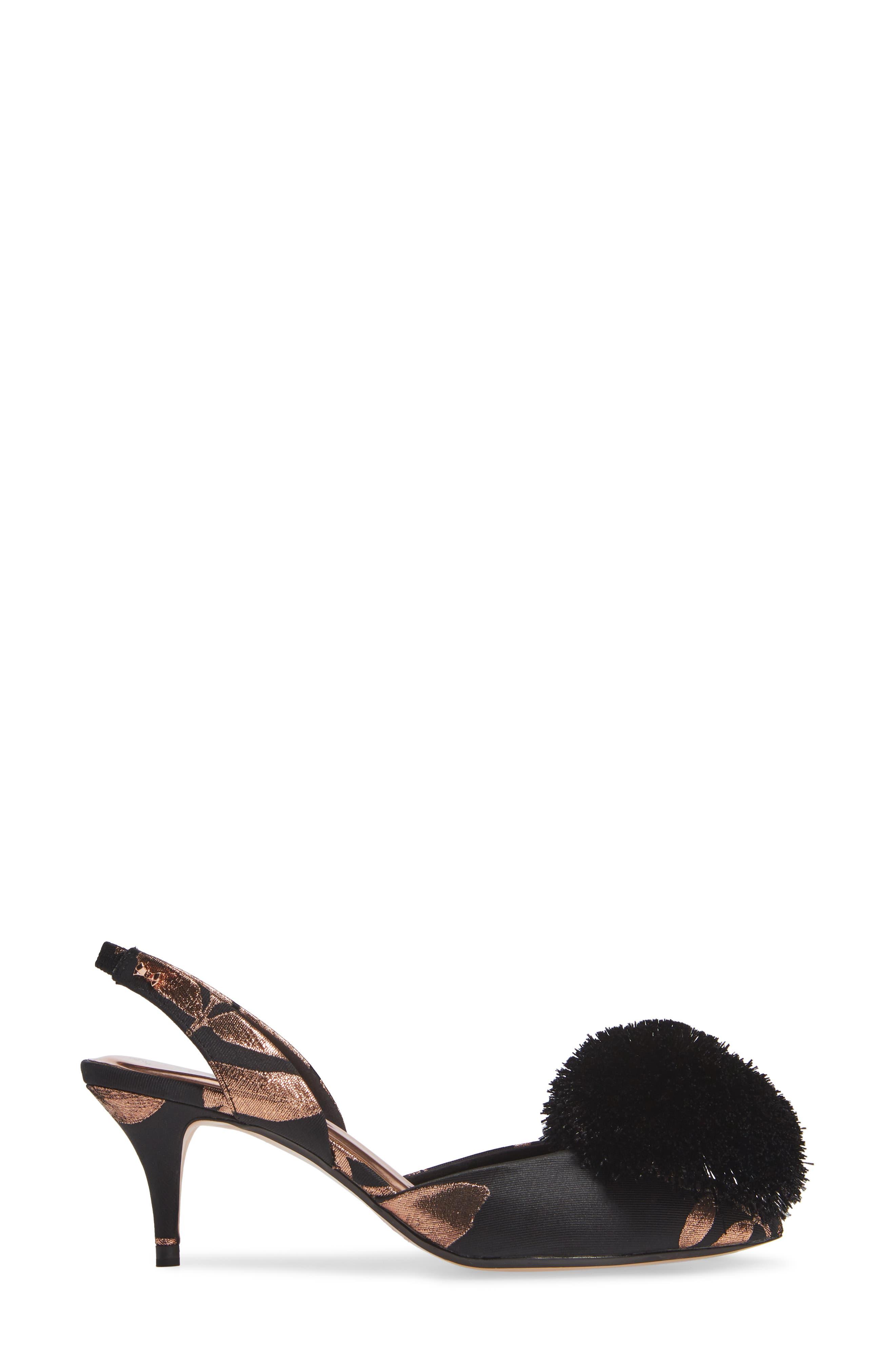 TED BAKER LONDON, Mikali Yarn Pouf Sandal, Alternate thumbnail 3, color, BLACK KIRSTEN BOSCH