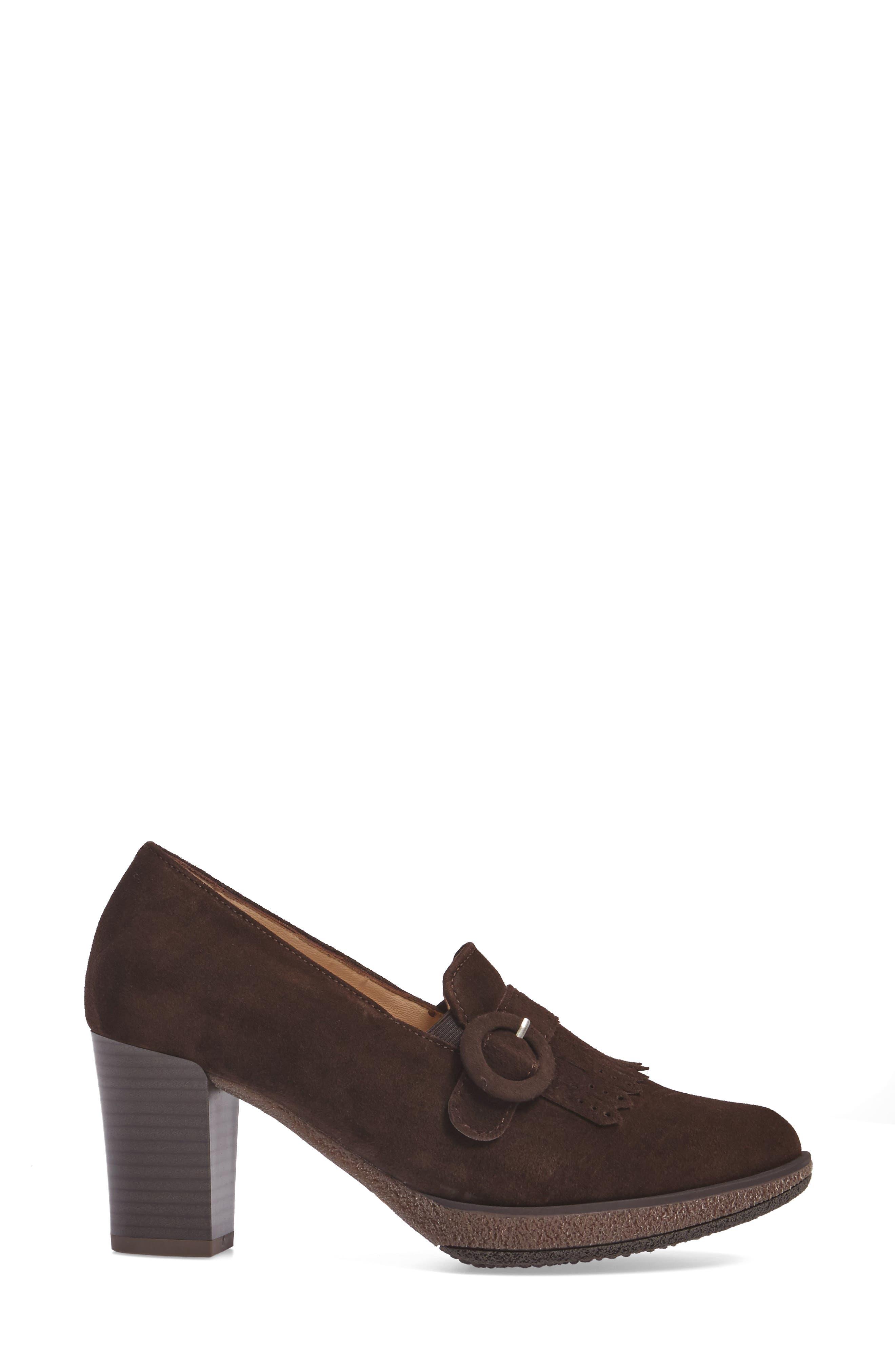 ARA, Becky Loafer Pump, Alternate thumbnail 3, color, BROWN SUEDE