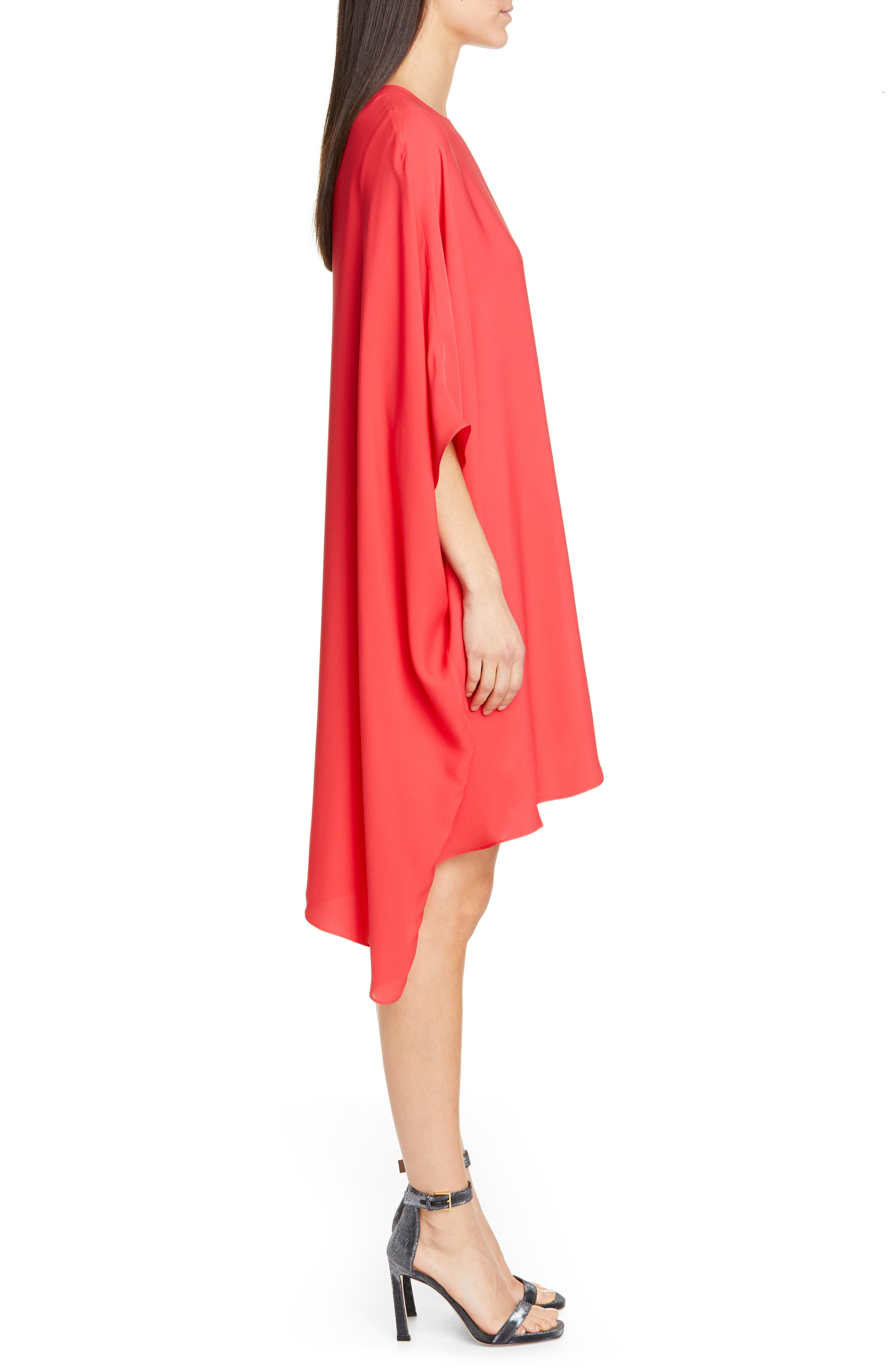 ST. JOHN COLLECTION, Draped Satin Silk Georgette Dress, Alternate thumbnail 4, color, CRIMSON