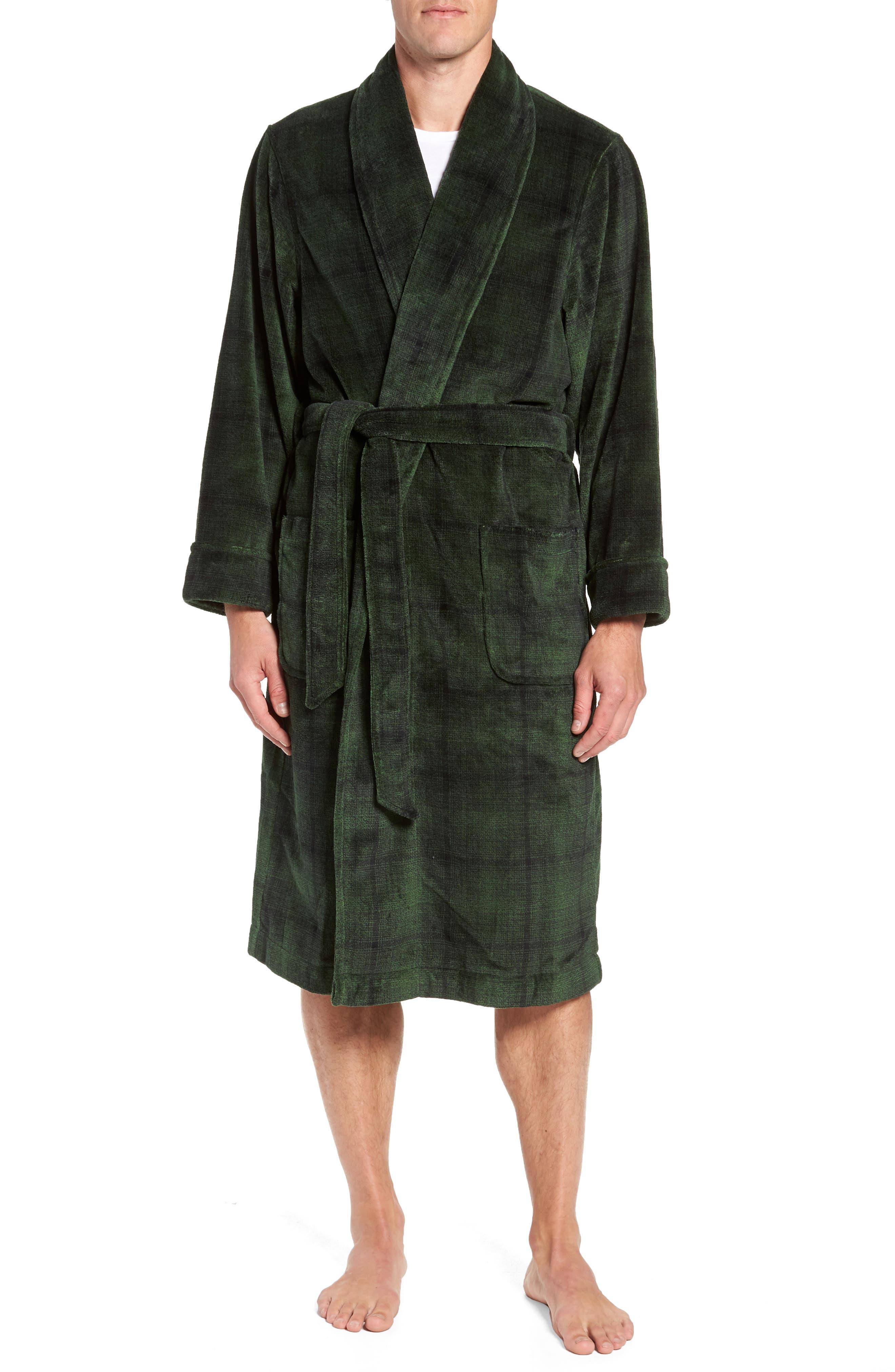 NORDSTROM MEN'S SHOP Ombré Plaid Fleece Robe, Main, color, GREEN - BLACK OMBRE PLAID