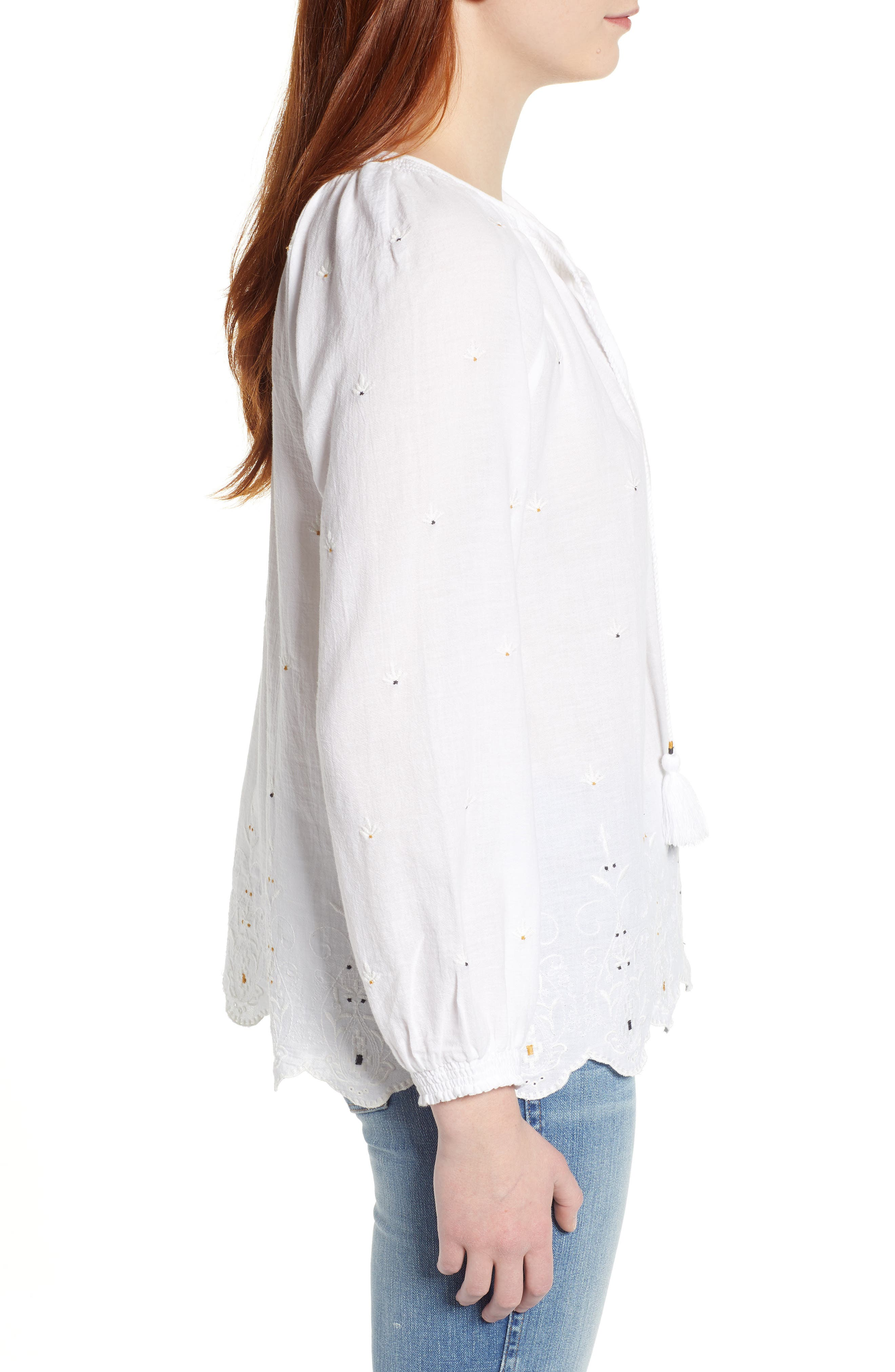 LUCKY BRAND, Eyelet Peasant Top, Alternate thumbnail 3, color, LUCKY WHITE