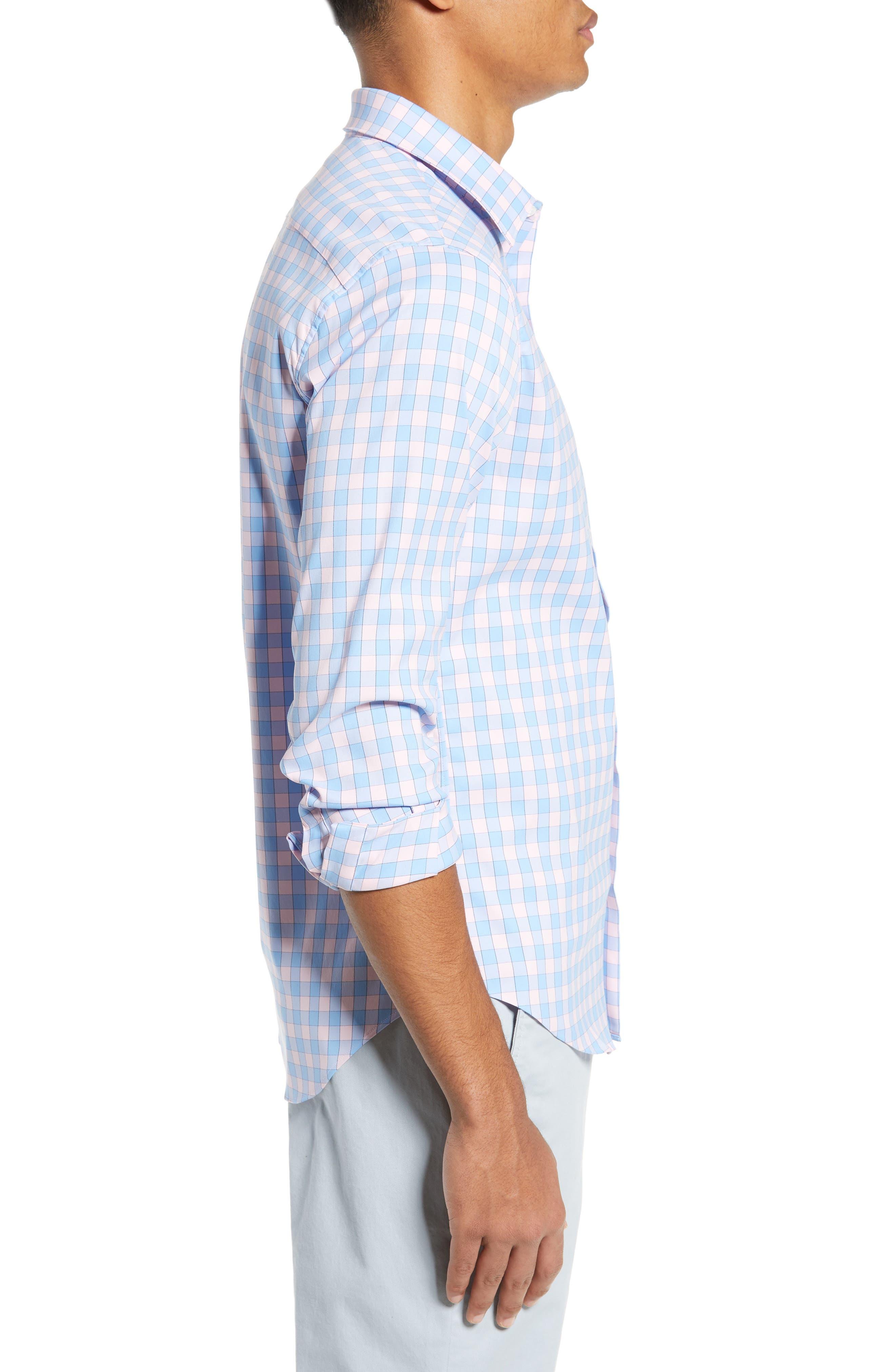 BONOBOS, Slim Fit Check Tech Sport Shirt, Alternate thumbnail 4, color, SAIL BOAT FIRST BLUSH