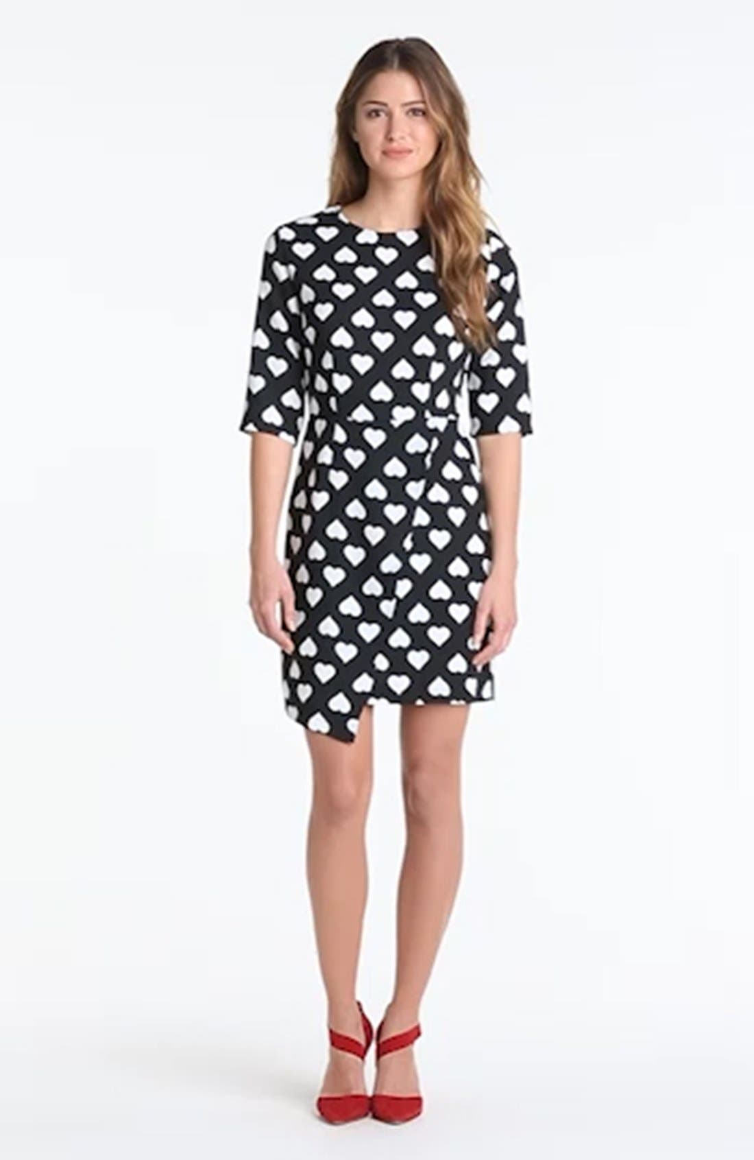 POPPY LUX, 'Nancy' Heart Print Asymmetrical Dress, Alternate thumbnail 4, color, 001