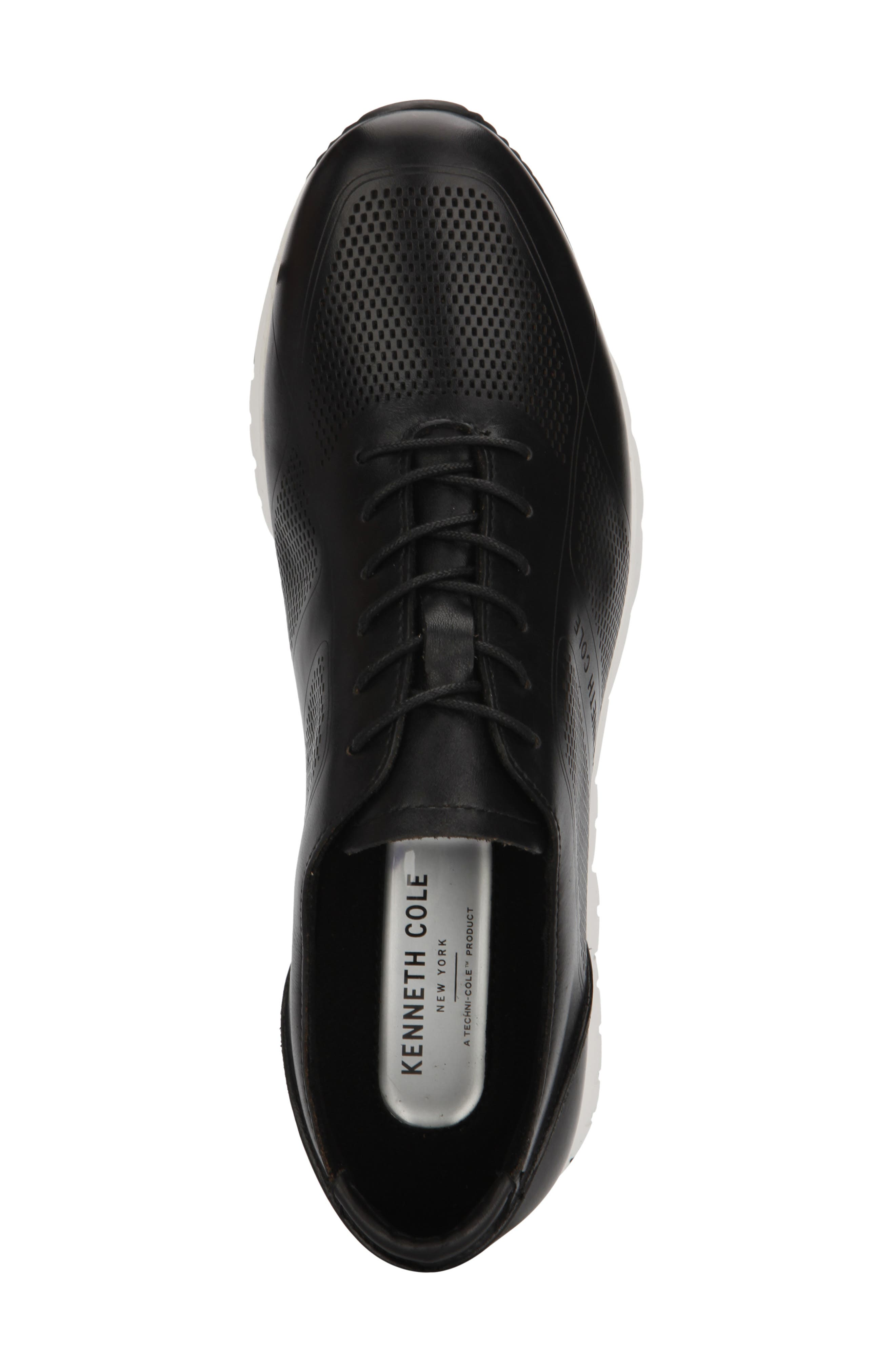 KENNETH COLE NEW YORK, Bailey Sneaker, Alternate thumbnail 3, color, BLACK LASERED LEATHER