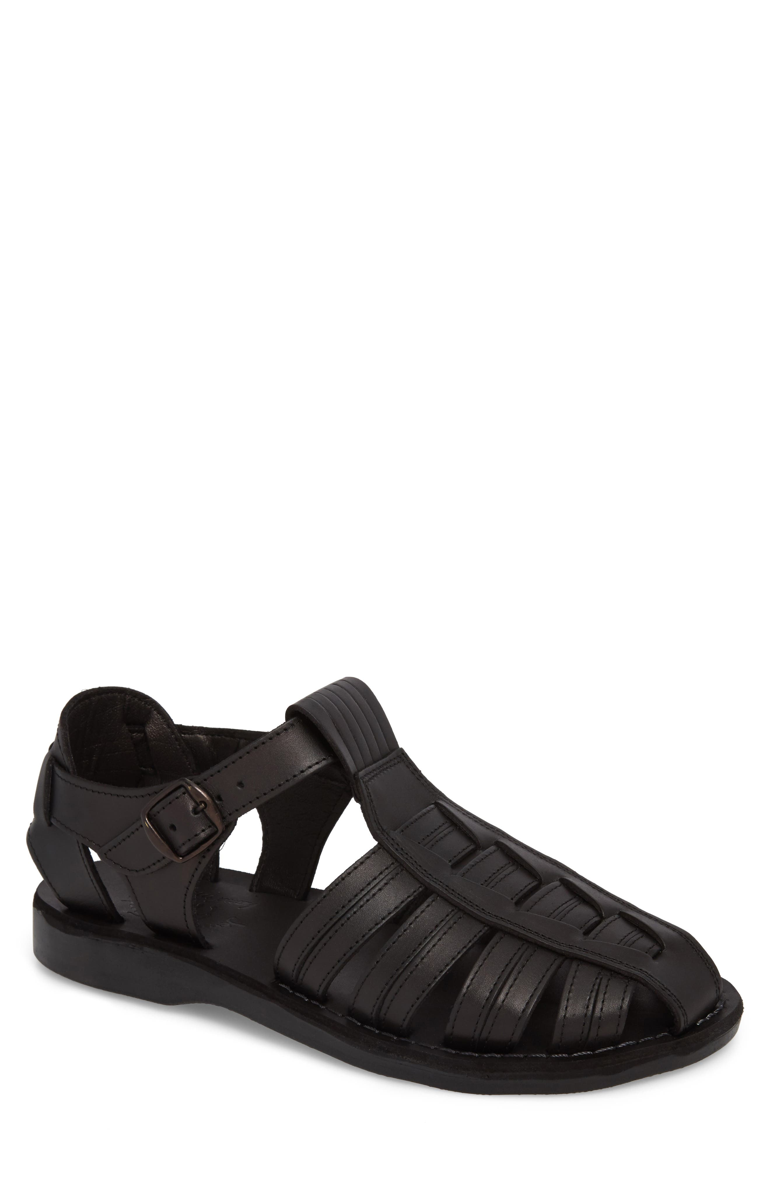 JERUSALEM SANDALS Barak Fisherman Sandal, Main, color, BLACK LEATHER