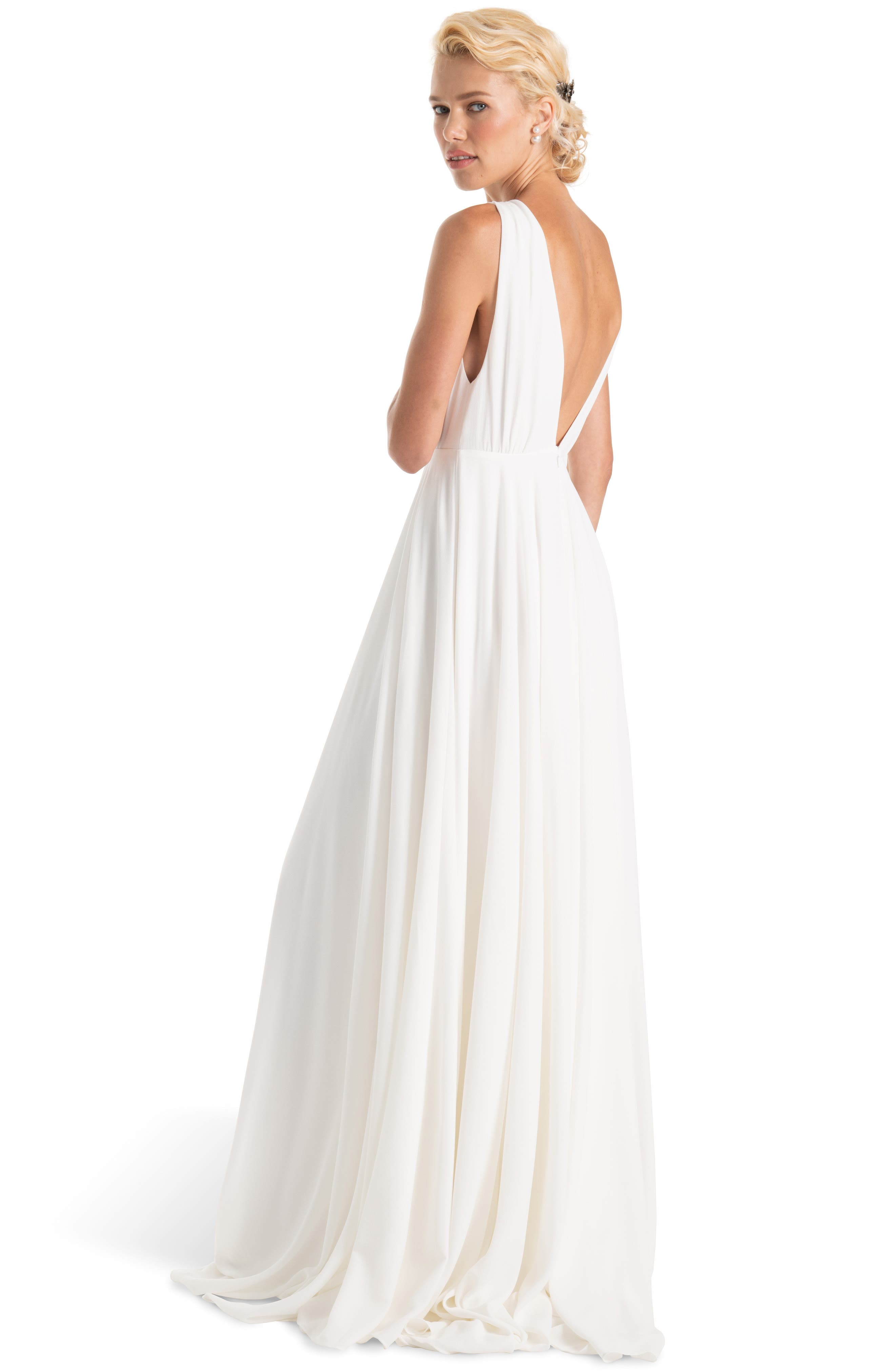 JOANNA AUGUST, Nico Plunging A-Line Gown, Alternate thumbnail 2, color, WHITE