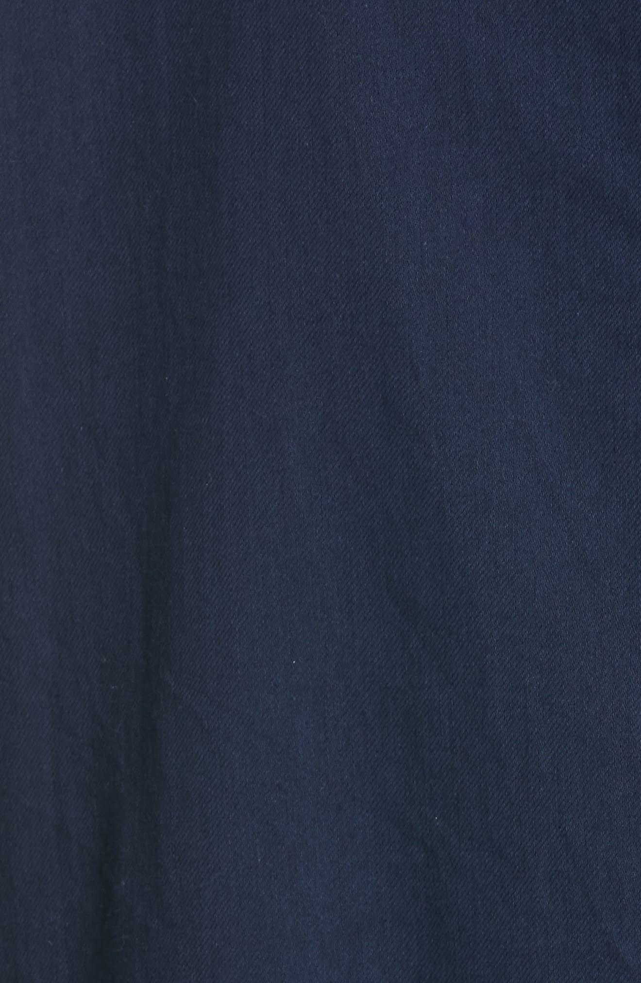 EILEEN FISHER, Mandarin Collar Organic Cotton Tunic Shirt, Alternate thumbnail 5, color, INDIGO