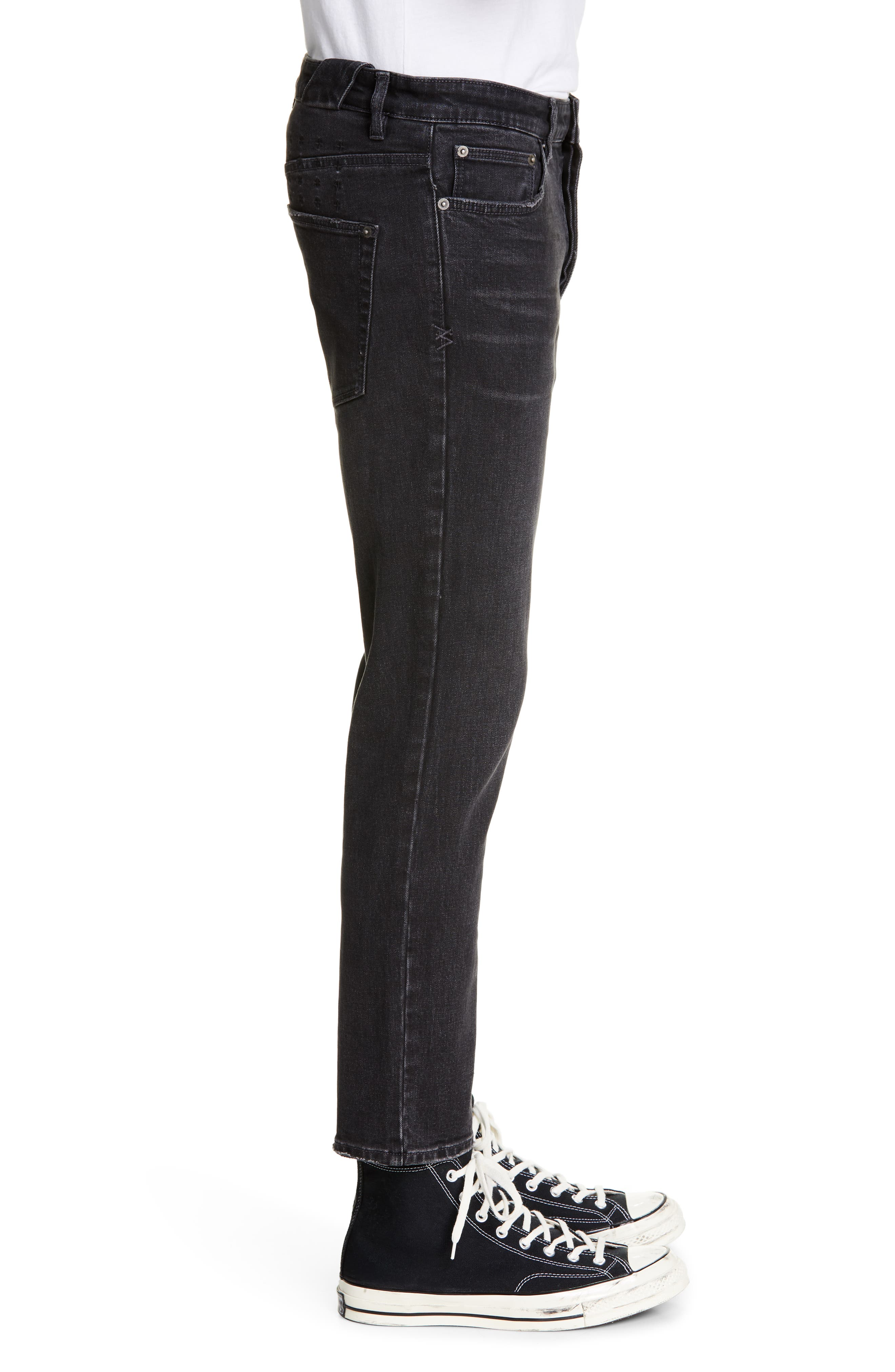 KSUBI, Chitch Hard Rock Skinny Fit Crop Jeans, Alternate thumbnail 3, color, BLACK